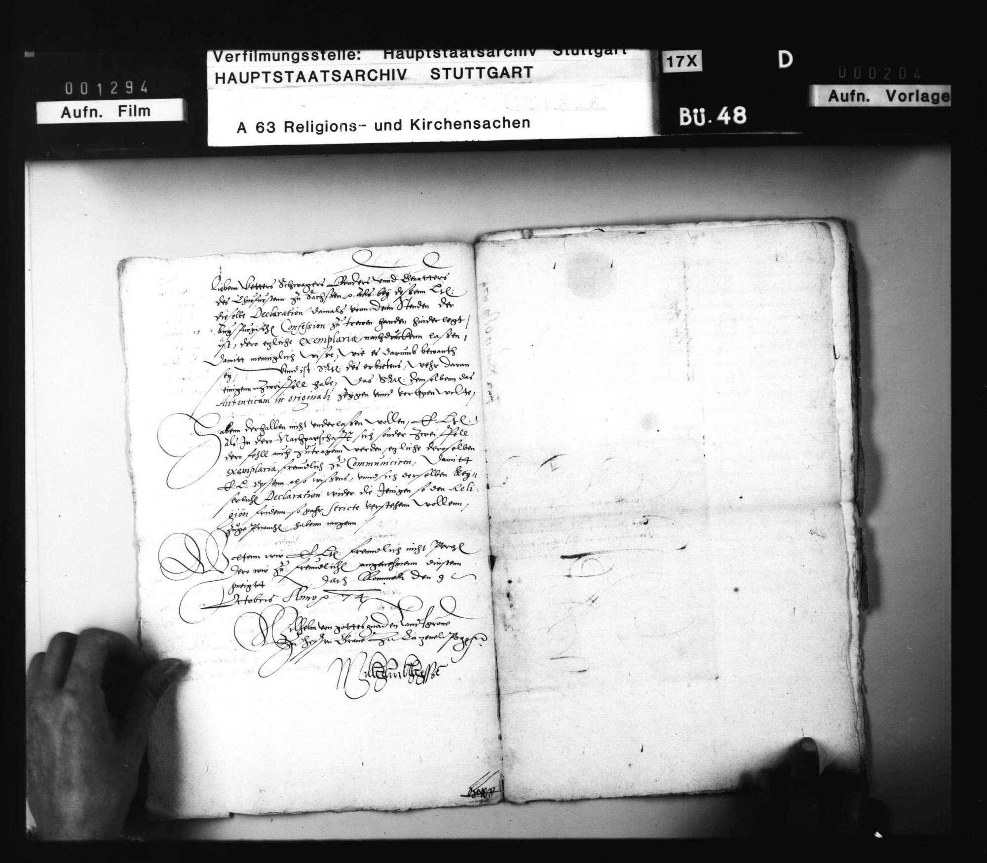 Schreiben Landgraf Wilhelms an Herzog Ludwig, betreffend die Auslegung des Augsburger Religionsfriedens, nebst Antwort., Bild 3