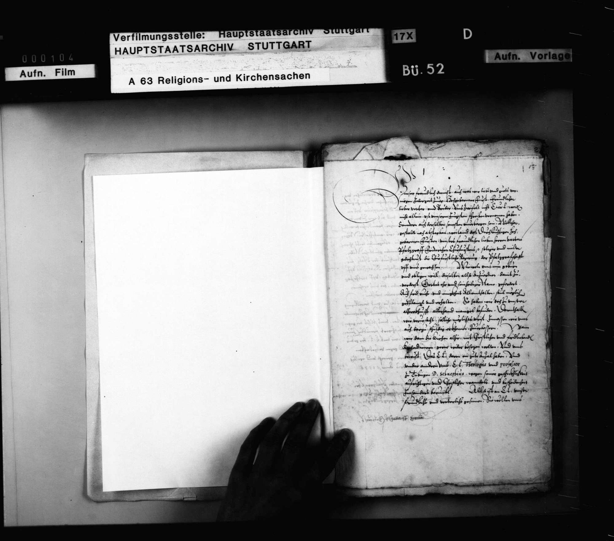 Schriften, betreffend die Überlassung württembergischer Theologen an Kurfürst Ludwig zur Beseitigung des Calvanismus in der Pfalz mit ausführlichem Bericht B. Bidembachs., Bild 2