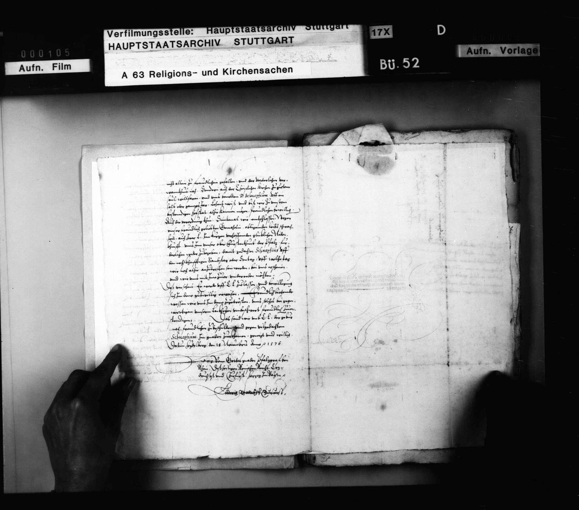 Schriften, betreffend die Überlassung württembergischer Theologen an Kurfürst Ludwig zur Beseitigung des Calvanismus in der Pfalz mit ausführlichem Bericht B. Bidembachs., Bild 3