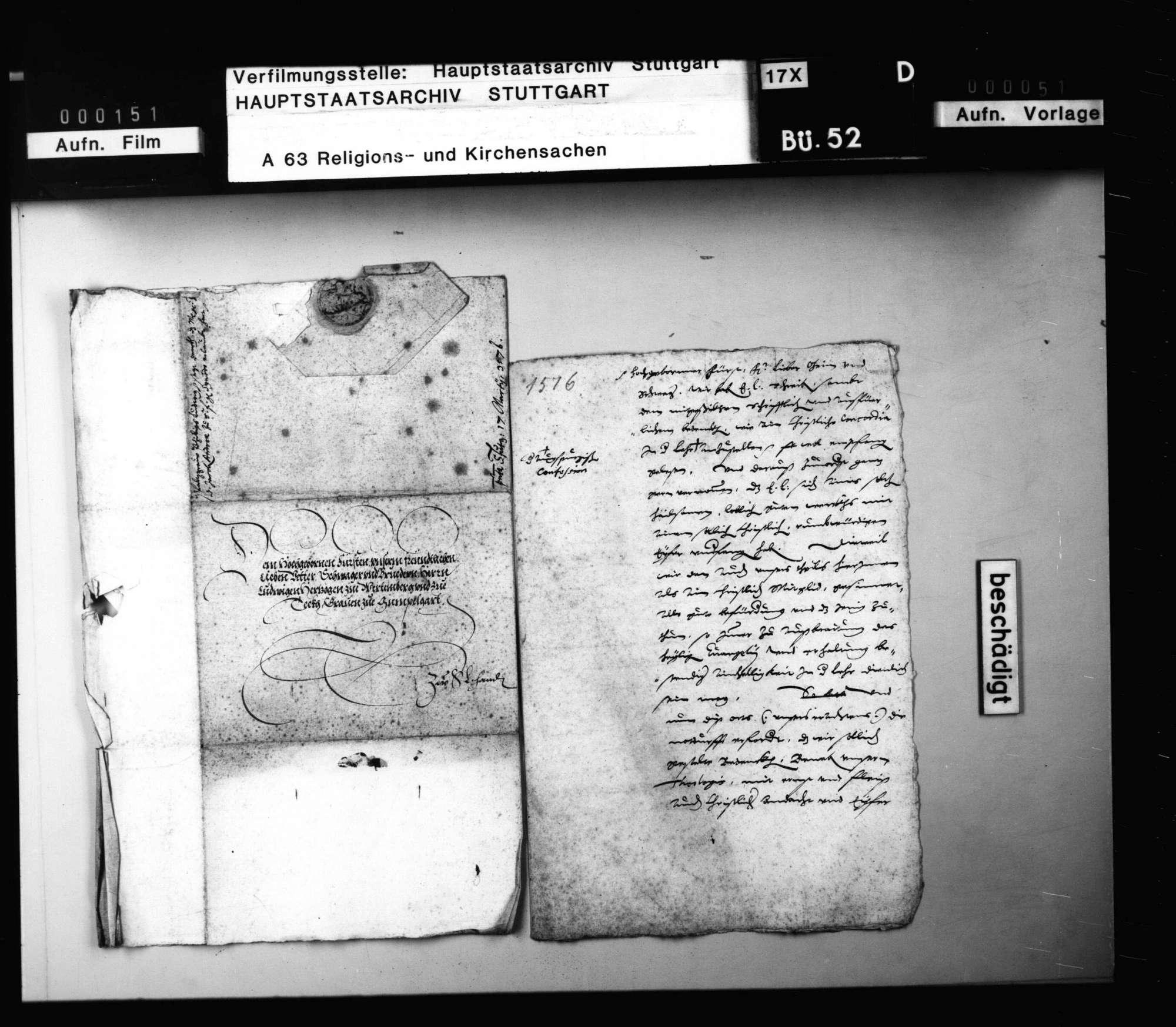 Schreiben Herzog Ludwigs an Kurfürst August, betreffend die Herstellung einer Concordia., Bild 1