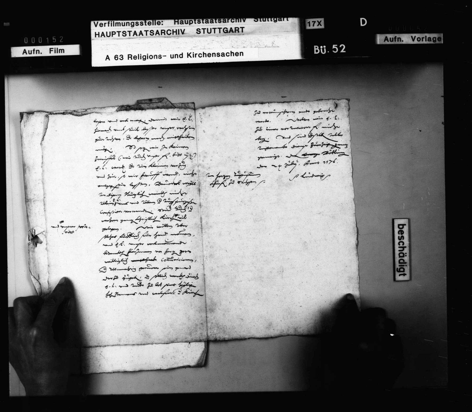 Schreiben Herzog Ludwigs an Kurfürst August, betreffend die Herstellung einer Concordia., Bild 2