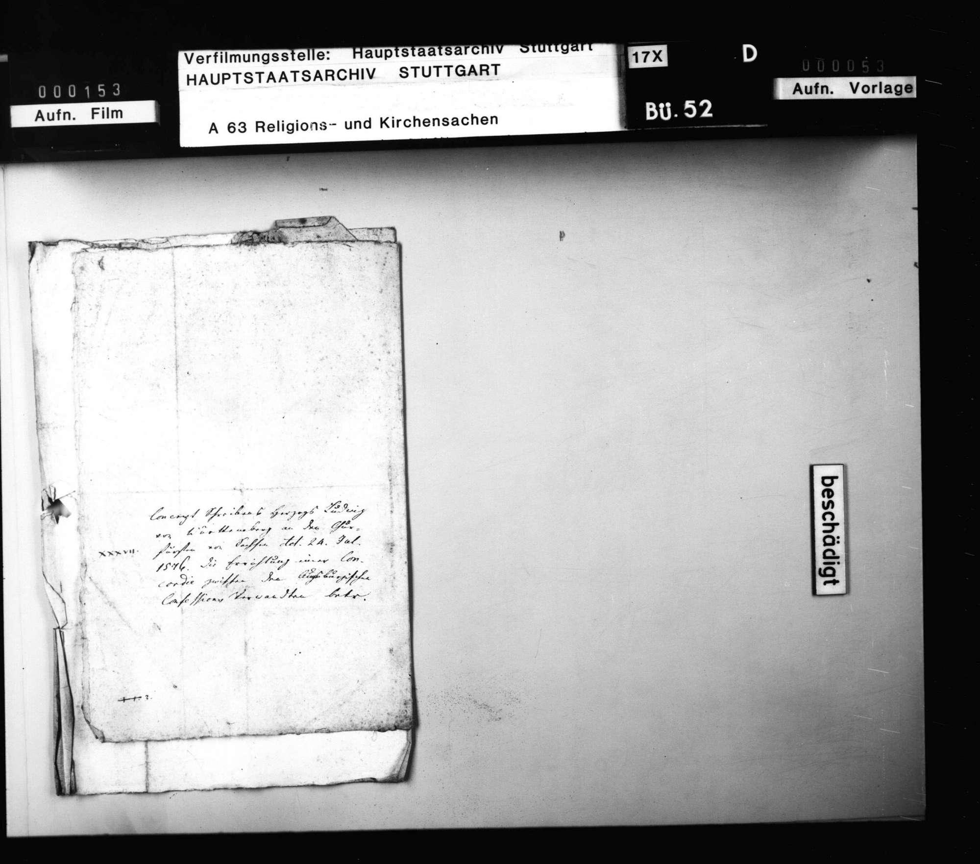 Schreiben Herzog Ludwigs an Kurfürst August, betreffend die Herstellung einer Concordia., Bild 3