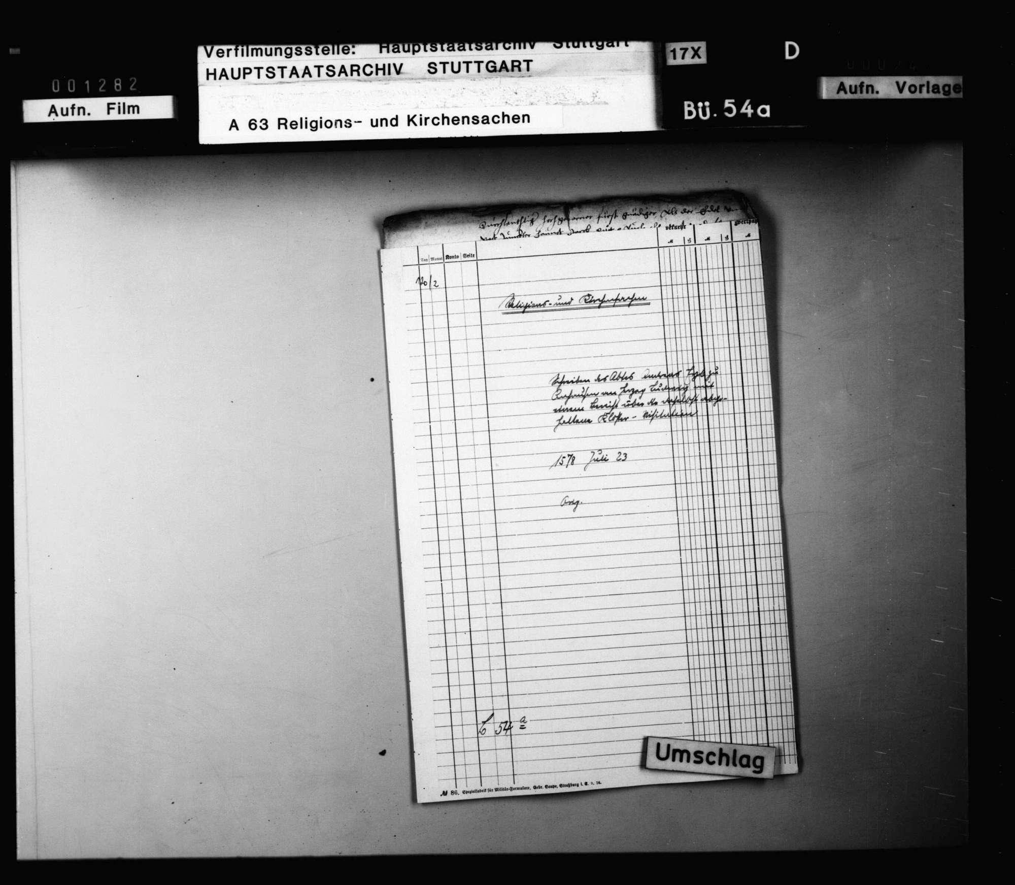 Schreiben des Abts Andreas Eyb zu Anhausen an Herzog Ludwig mit einem Bericht über die in seinem Kloster abgehaltenen Visitationen. Original, Bild 1