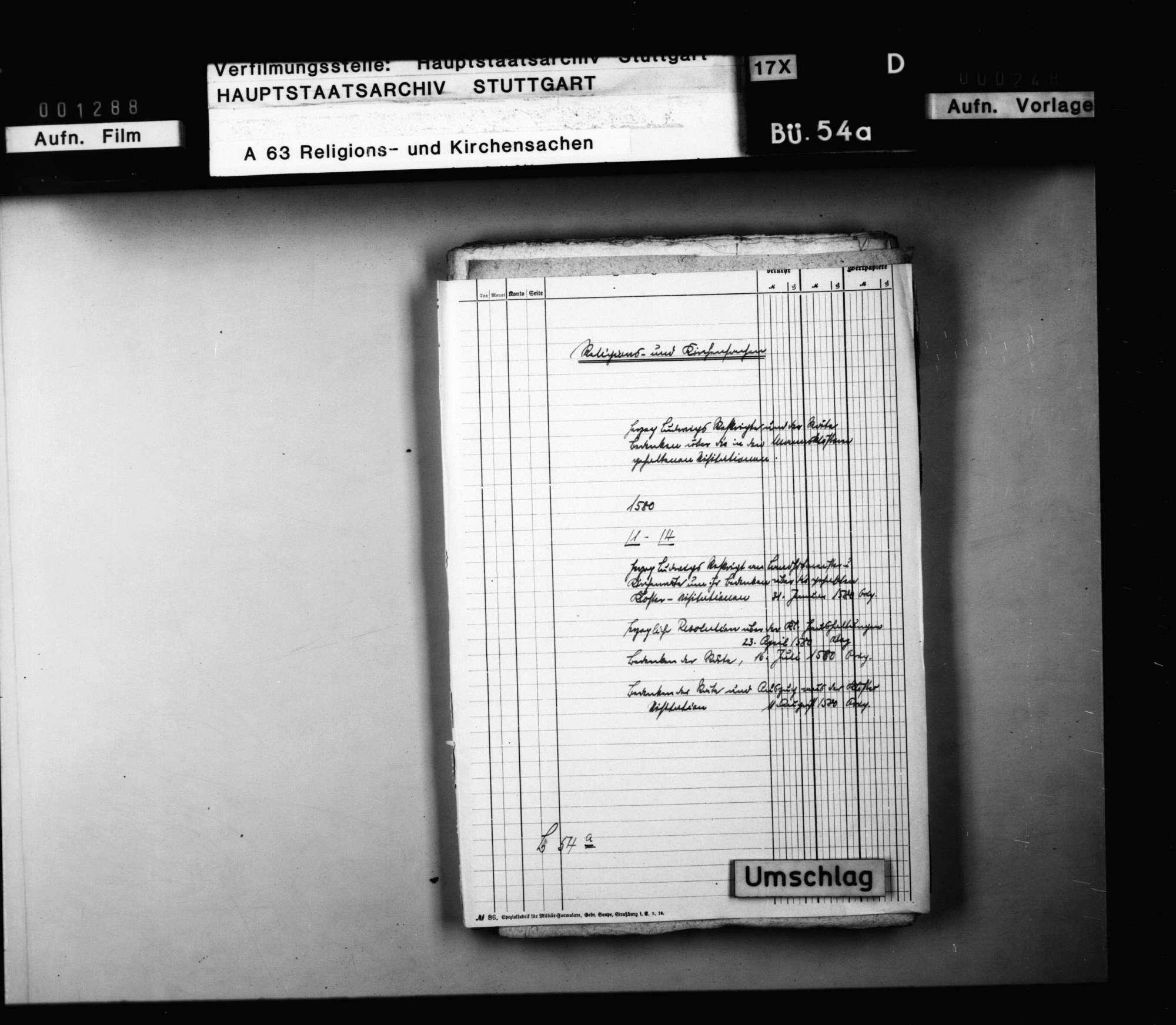 Herzog Ludwigs Reskripte und der Räte Bedenken über die in Mannsklöstern gehaltenen Visitationen., Bild 1