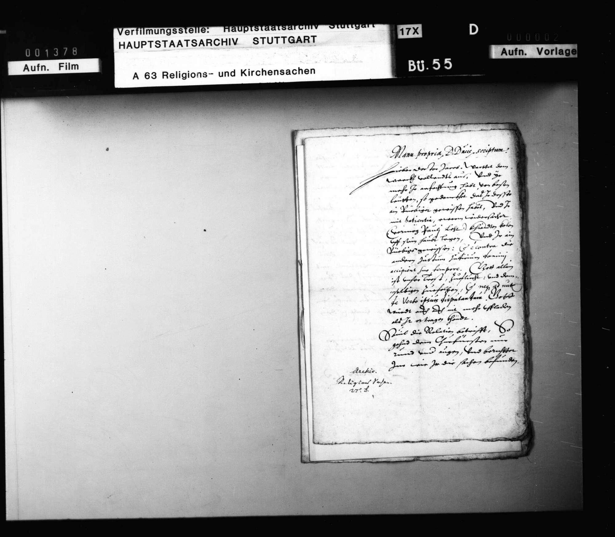 Schreiben Herzog Ludwigs an J. Andreä, er solle in der Betreibung des Concordienwerks standhaft bleiben. Abschrift., Bild 1
