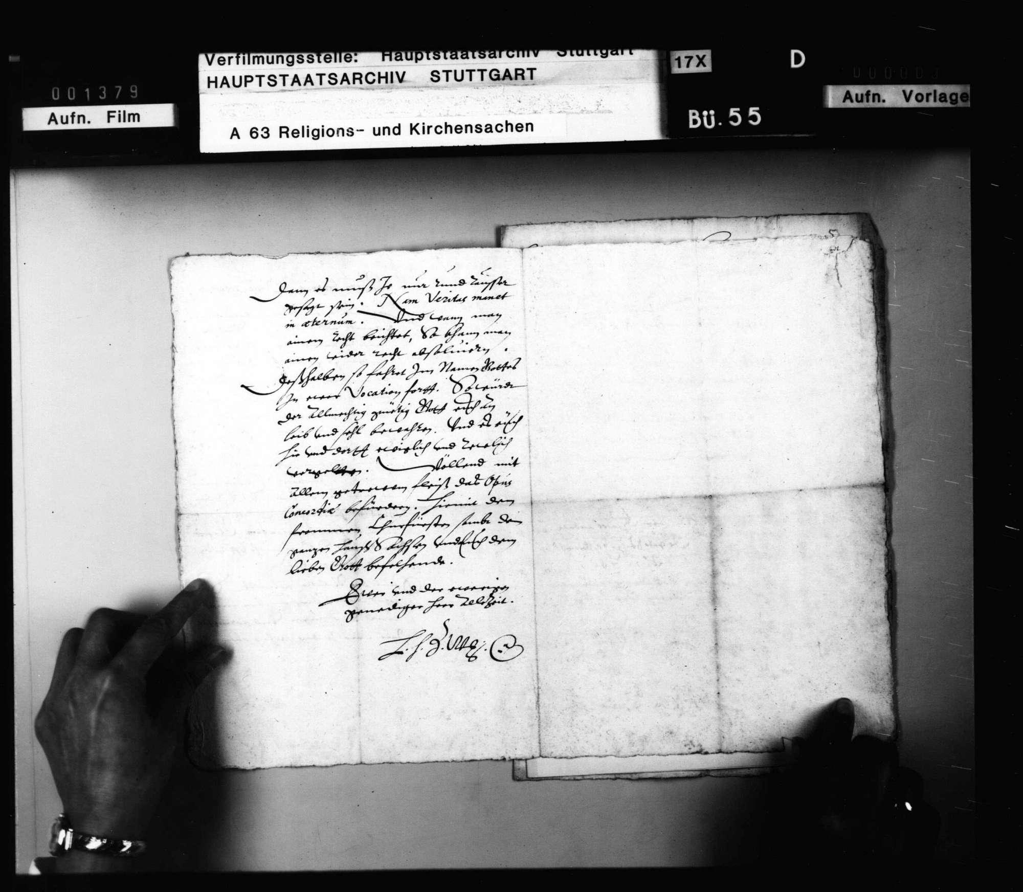 Schreiben Herzog Ludwigs an J. Andreä, er solle in der Betreibung des Concordienwerks standhaft bleiben. Abschrift., Bild 2