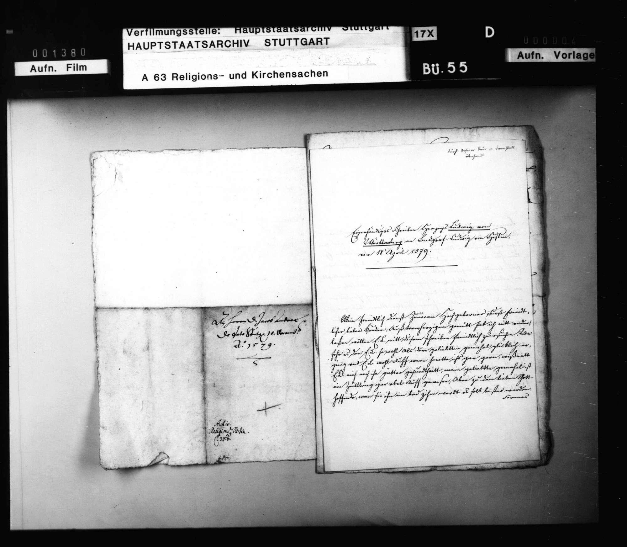 Schreiben Herzog Ludwigs an J. Andreä, er solle in der Betreibung des Concordienwerks standhaft bleiben. Abschrift., Bild 3
