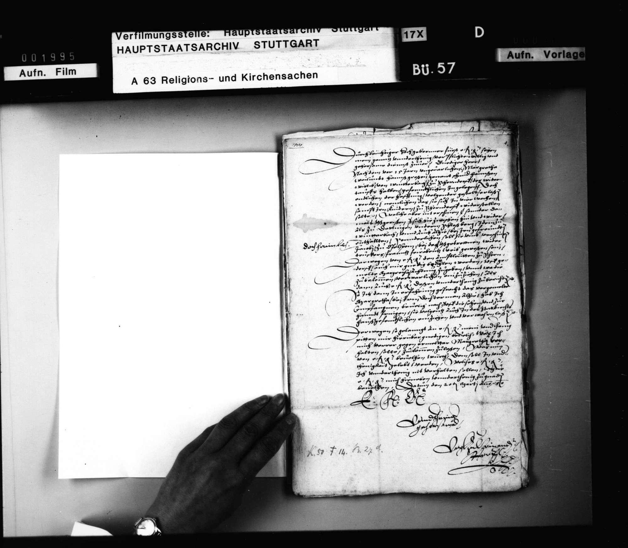 Schriften, die Prozessierung einer Winterbacher Wiedertäuferin betreffend., Bild 1