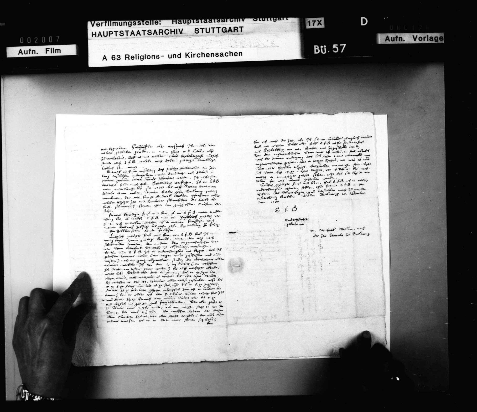 M. Michael Mästlein, Diakonus zu Backnang teilt seine Berufung an die Universität Heidelberg als Mathematikus Herzog Ludwig mit und berichtet wegen eines Kometen., Bild 3