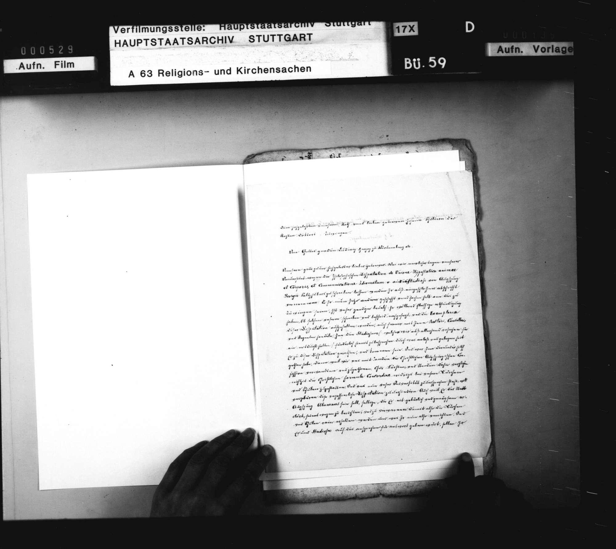 Herzog Ludwigs Schreiben an Dr. Johann Schulter zu Tübingen, betreffend die philosophische Disputation des Studenten Georg Salzhuber aus Augsburg, welche hinsichtlich der kirchlichen Lehre Anstände darbietet., Bild 1