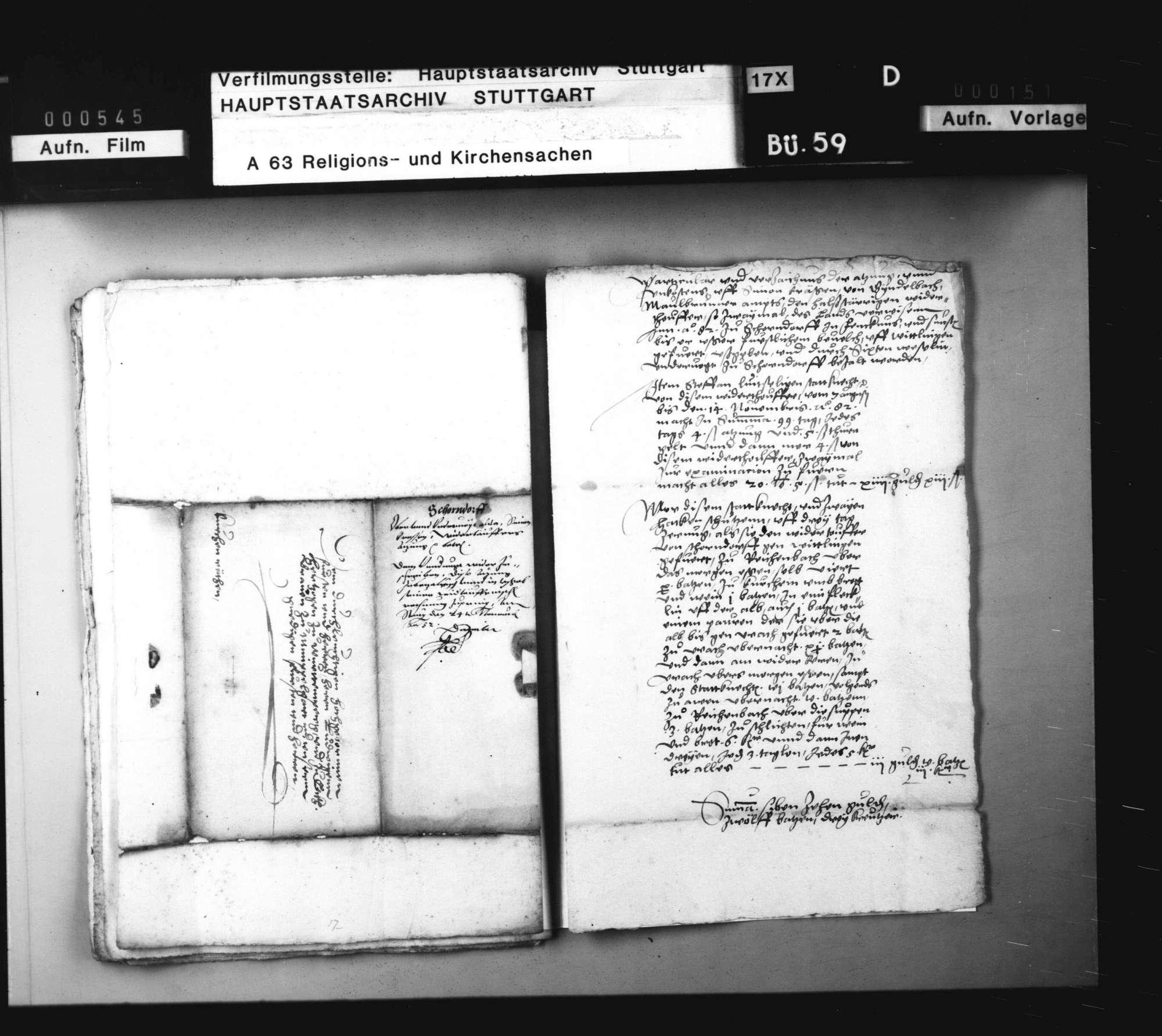 2 Schriftstücke, betreffend die Zuordnung der Kosten für den Transport eines Wiedertäufers nach Wittlingen., Bild 2