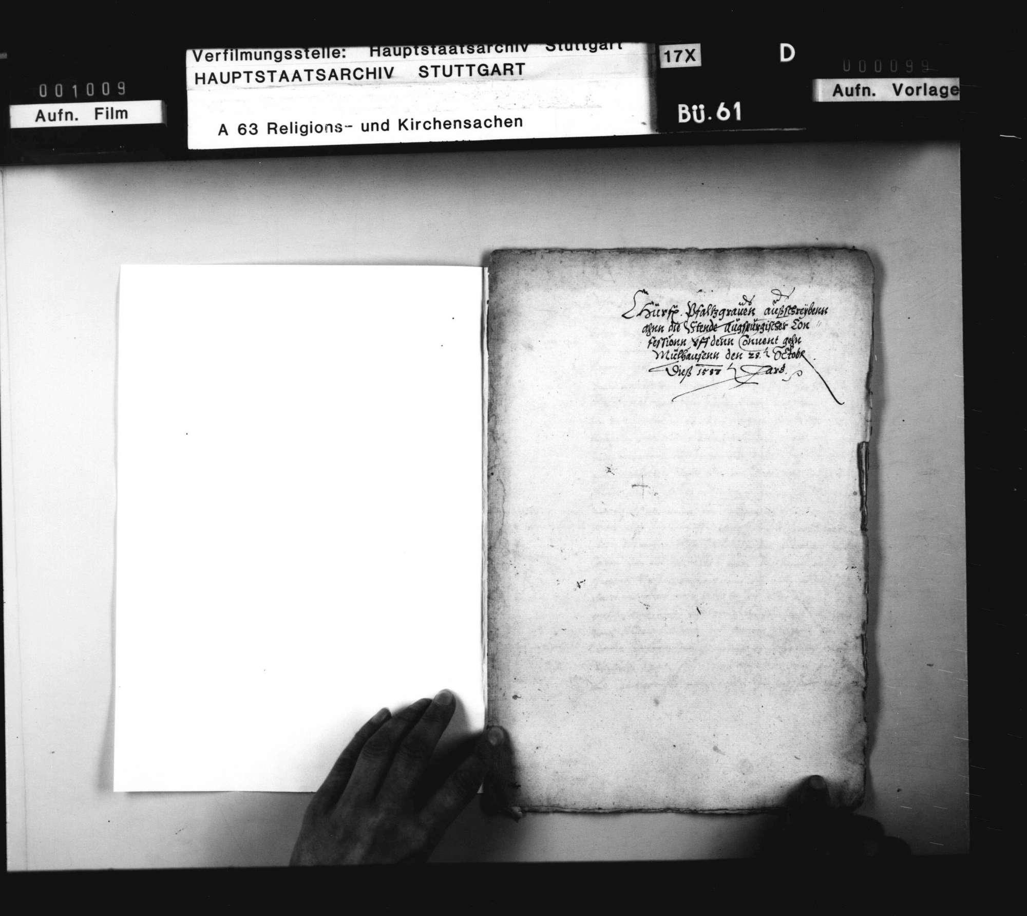 Pfalzgraf Ludwigs Einladung an die Stände Augsburger Konfession zu einem Konvent nach Mühlhausen. Abschrift, Bild 1