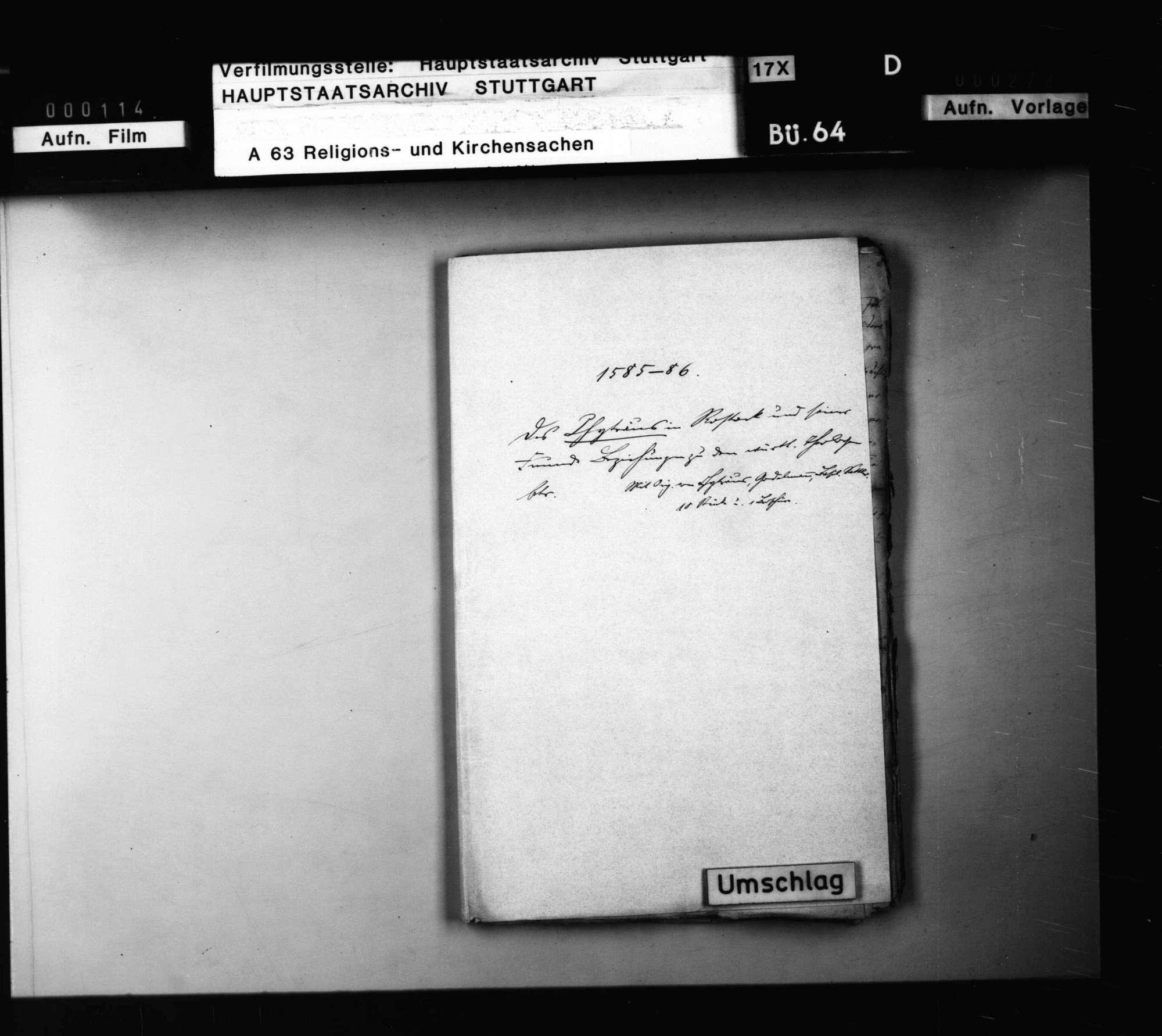 Schriften, des Chyträus in Rostock und seiner Freunde Beziehungen zu den württembergischen Theologen betreffend., Bild 1