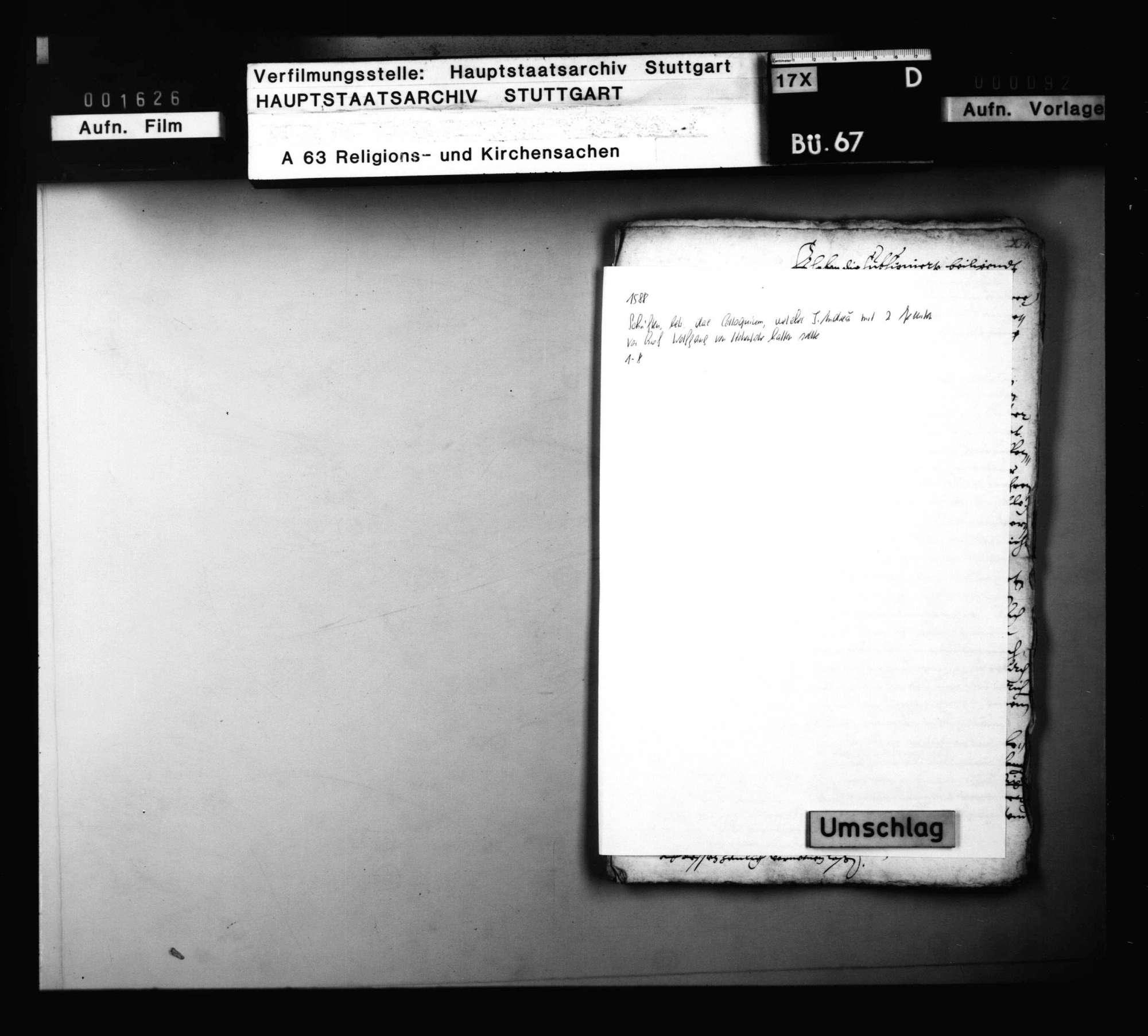 Schriften, betreffend das Colloquium, welches J. Andreä mit zwei Jesuiten vor Graf Wolf von Hohenlohe halten sollte, Bild 1