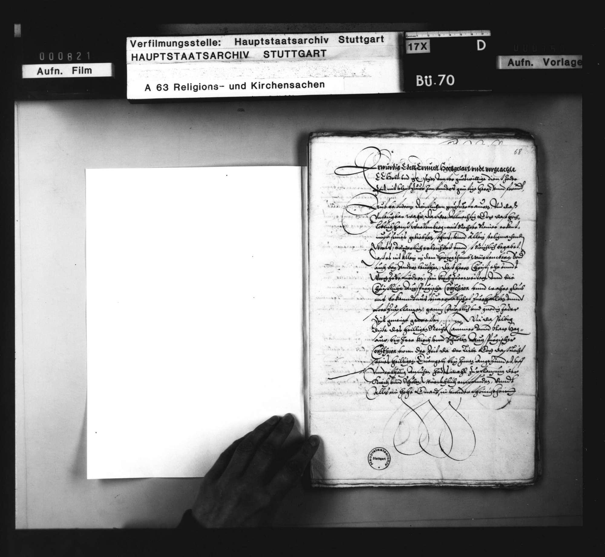 Akten, betreffend die Überlassung württembergischer Geistlicher an auswärtige Kirchen: 1. des J. Bogenritter nach Hagenau, 1594. 2. des Marcus Löffler nach Böhmen, 1595/97. 3. des G. Keppelmann an G. von Wald ins Thurgau, 1597. 4. des G. Speyser an den Grafen von Erbach, 1599. 5. des Leonhard Seiz an denselben, 1602. 6. des C. Wagner an den Freiherrn zu Gundersdorf, 1602. 7. des U. Viktor nach Landau, 1604. 8. des Erhard Cellius an die Stadt Wimpfen, 1606., Bild 2