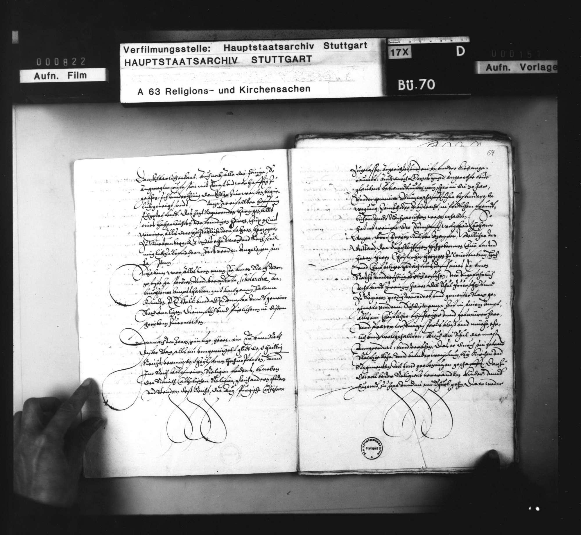 Akten, betreffend die Überlassung württembergischer Geistlicher an auswärtige Kirchen: 1. des J. Bogenritter nach Hagenau, 1594. 2. des Marcus Löffler nach Böhmen, 1595/97. 3. des G. Keppelmann an G. von Wald ins Thurgau, 1597. 4. des G. Speyser an den Grafen von Erbach, 1599. 5. des Leonhard Seiz an denselben, 1602. 6. des C. Wagner an den Freiherrn zu Gundersdorf, 1602. 7. des U. Viktor nach Landau, 1604. 8. des Erhard Cellius an die Stadt Wimpfen, 1606., Bild 3