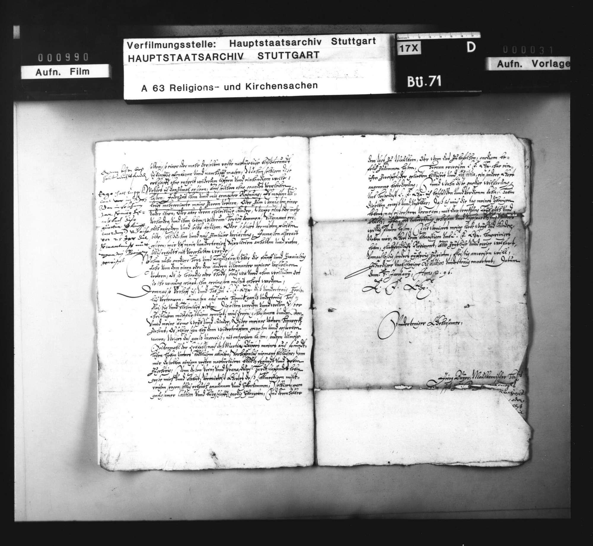 Akten, betreffend den aus dem Maulbronner Amt ausgewanderten Wiedertäufer G. Baier und die Beschlagnahme seines Vermögens., Bild 3