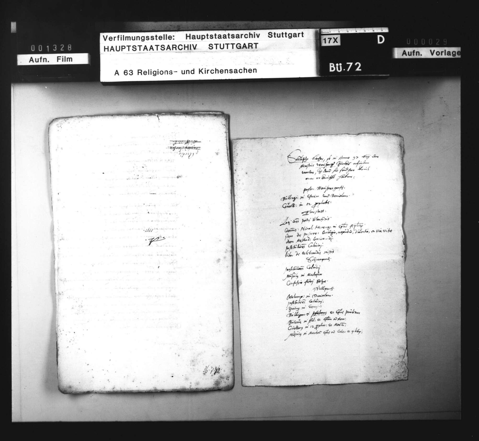 Liste von sektiererischen Büchern, die bei Geistlichen im Weinsberger Bezirk gefunden worden sind., Bild 1