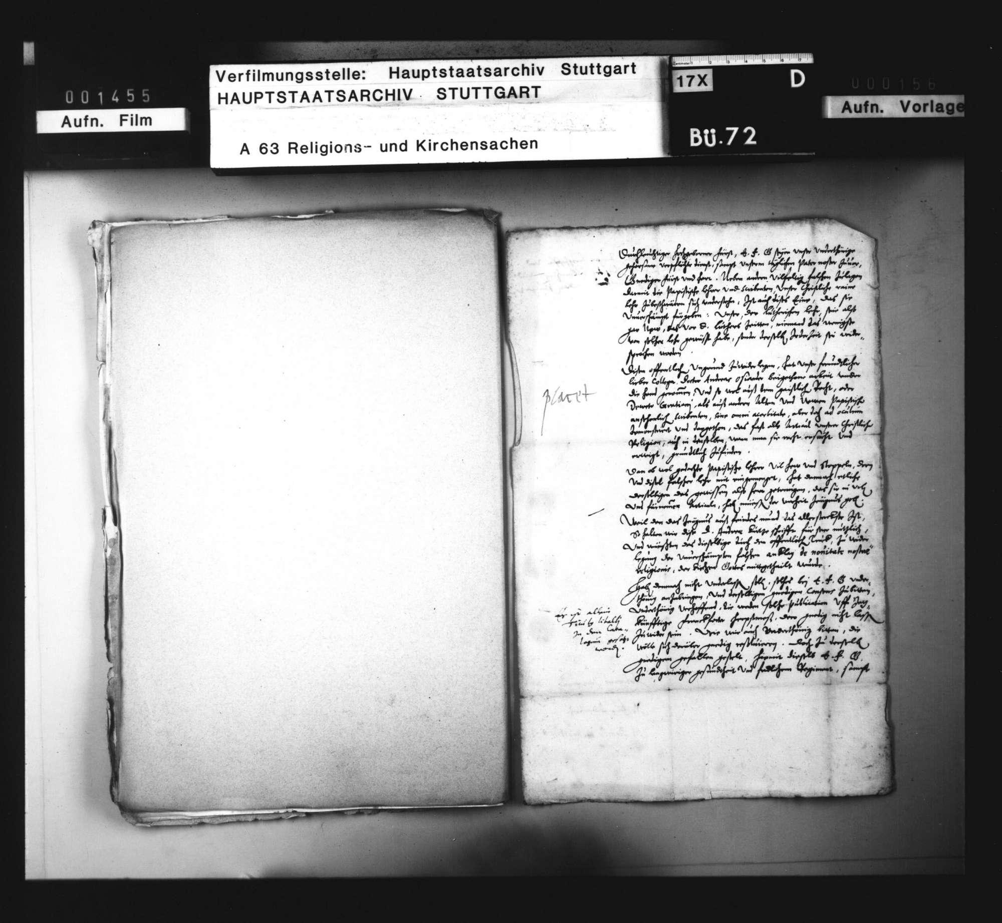 Konsistorialantrag, den Druck einer apologetischen Schrift des Andreas Osiander betreffend., Bild 1