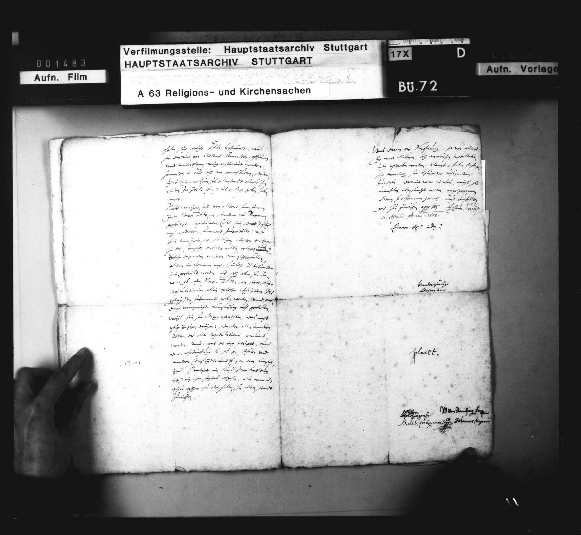 Untertänig Anbringen der herzoglichen Räte wegen der Installierung der neuen Prälaten zu Maulbronn, Adelberg und Alpirsbach. Stuttgart, 11. April 1600. Original, Bild 3