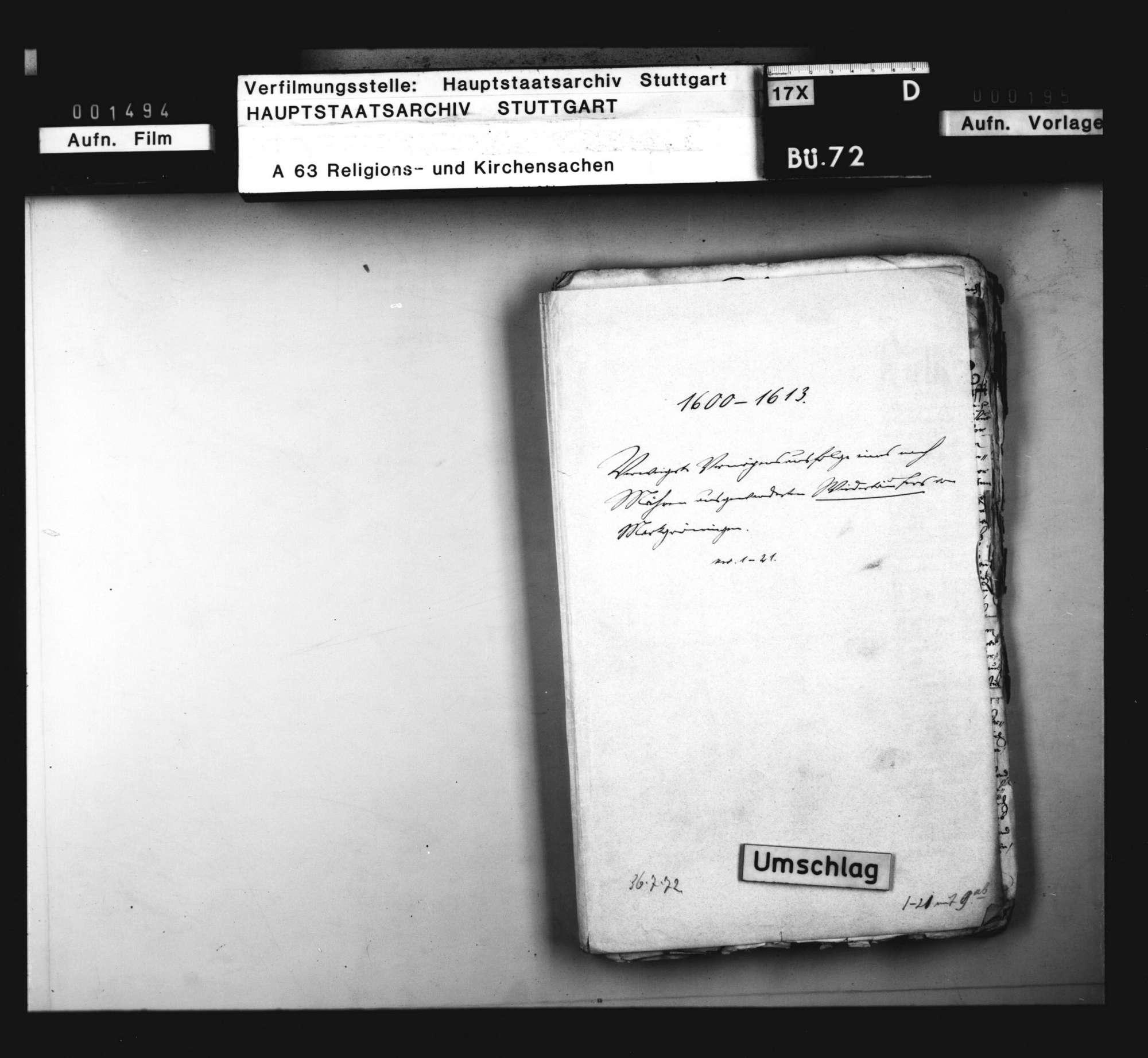 Schriften, betreffend die Verweigerung der Vermögensausfolge an einen nach Mähren ausgewanderten Wiedertäufer [Sebastian Dietrich aus Markgröningen]., Bild 1