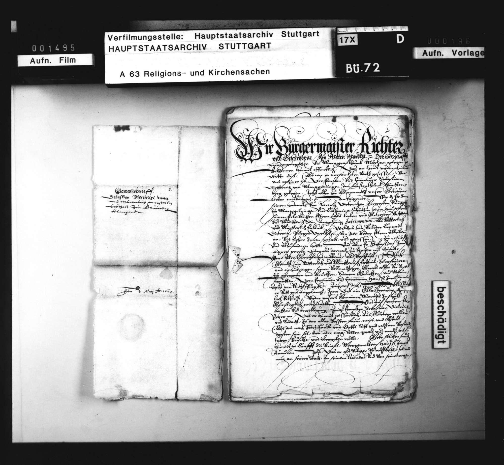 Schriften, betreffend die Verweigerung der Vermögensausfolge an einen nach Mähren ausgewanderten Wiedertäufer [Sebastian Dietrich aus Markgröningen]., Bild 2