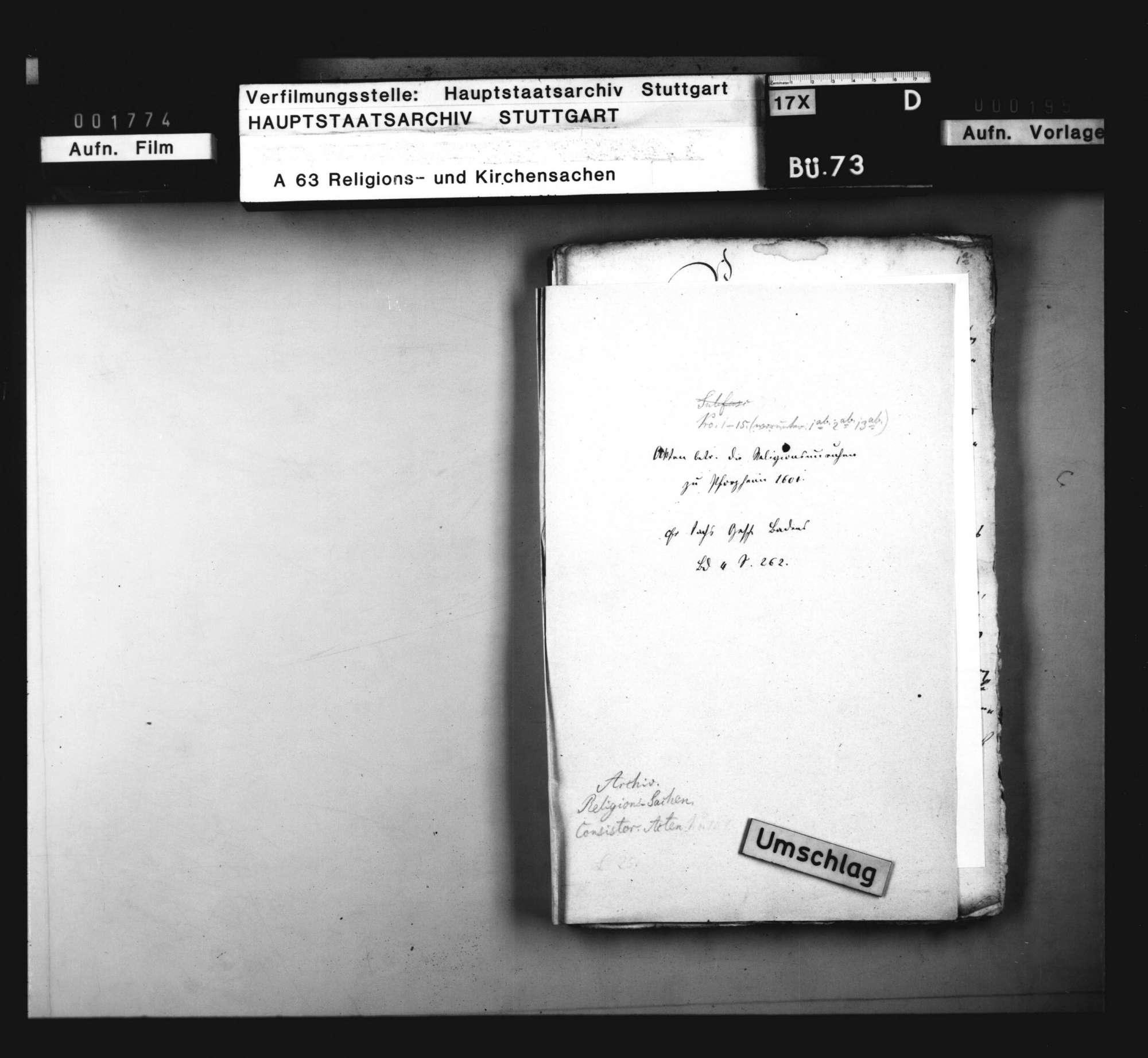 Schriften, betreffend die zu Pforzheim wegen Einführung des Calvinismus durch Markgraf Ernst Friedrich entstandenen Unruhen., Bild 1