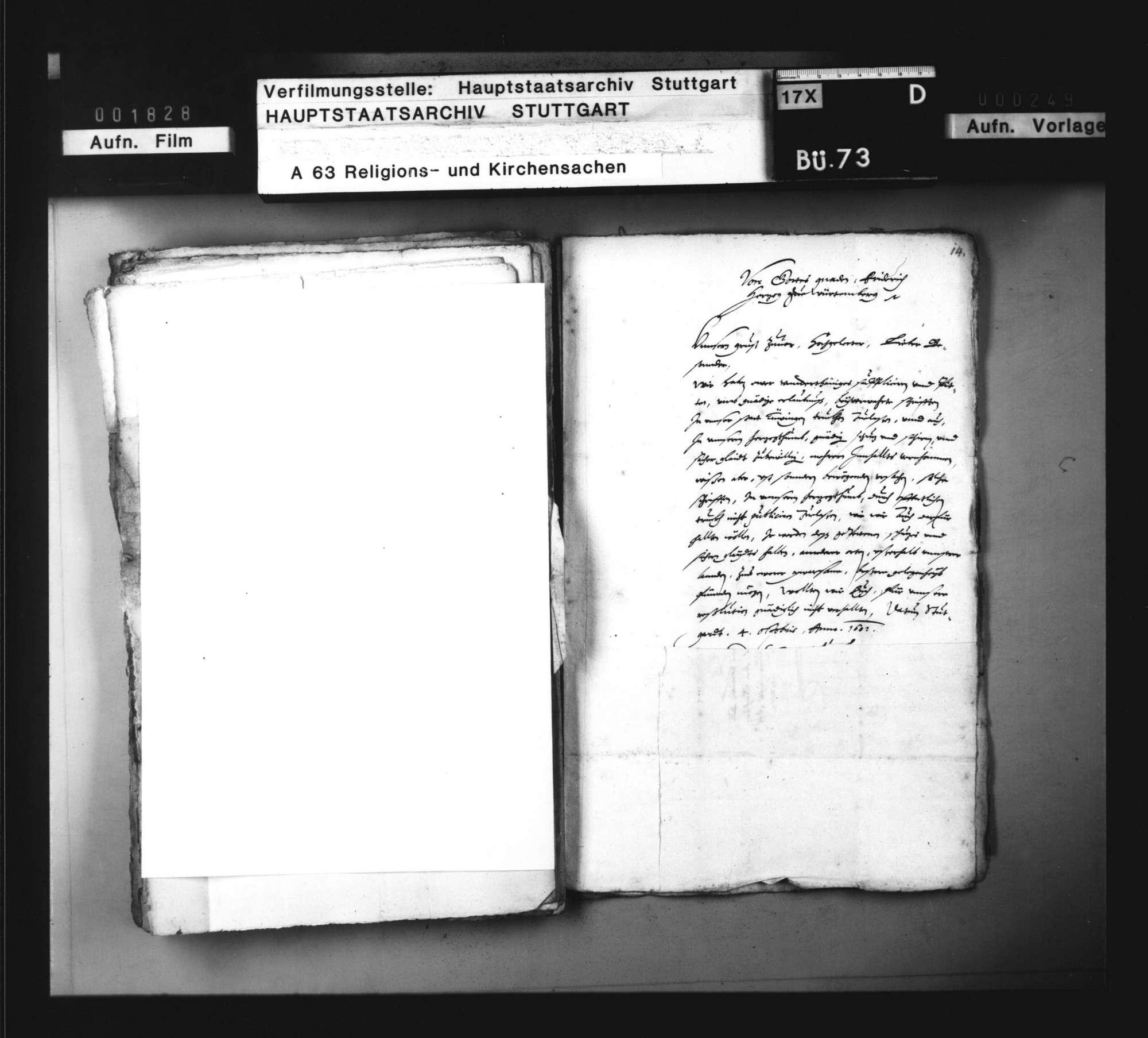 Korrespondenz bzw. Vorschläge zur Abfassung einer Schrift gegen die von Markgraf Ernst Friedrich beabsichtigte Einführung des Calvinismus., Bild 2