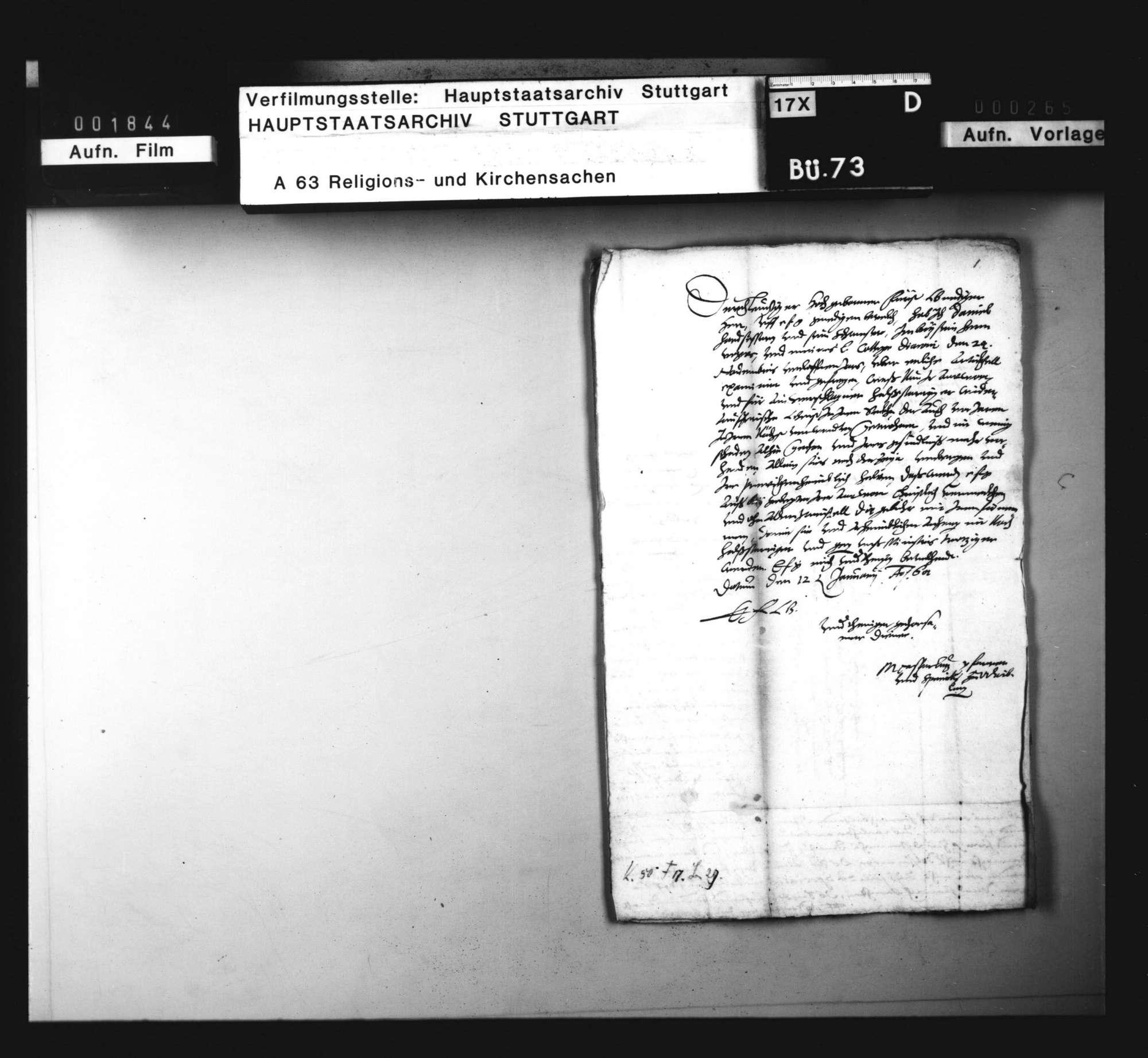 Schriften betreffend einen Wiedertäufer zu Waiblingen., Bild 1