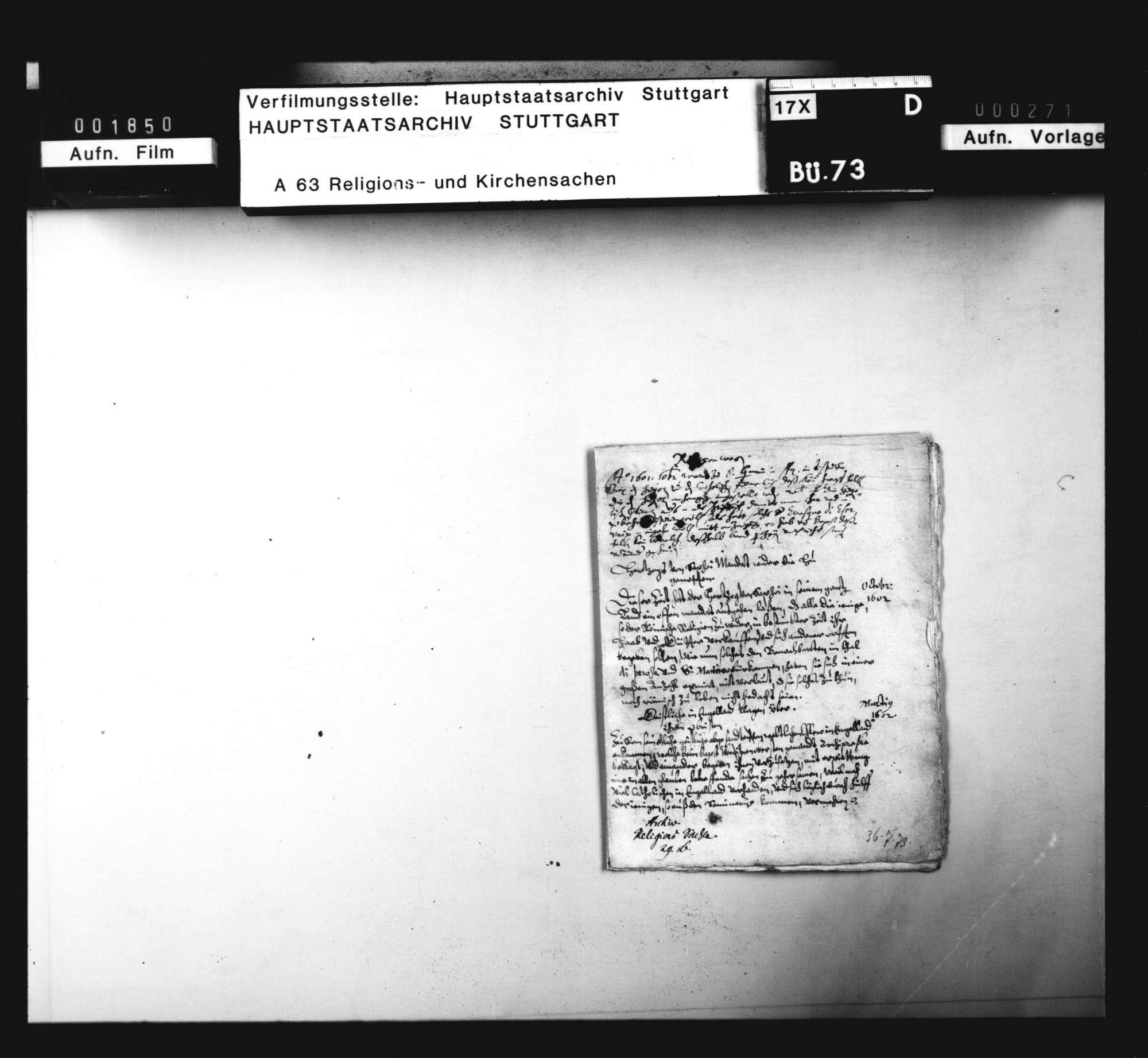 Notamina verschiedener Vorfälle das Religionswesen betreffend. Sine dato., Bild 1