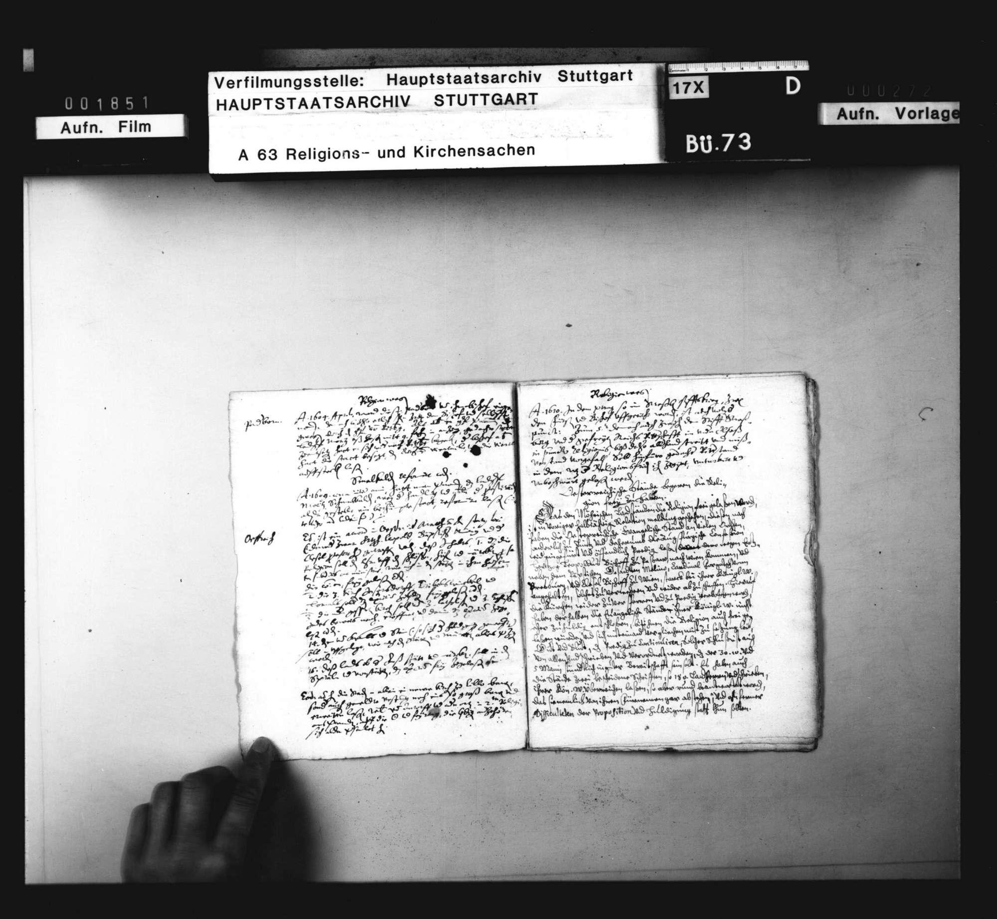 Notamina verschiedener Vorfälle das Religionswesen betreffend. Sine dato., Bild 2