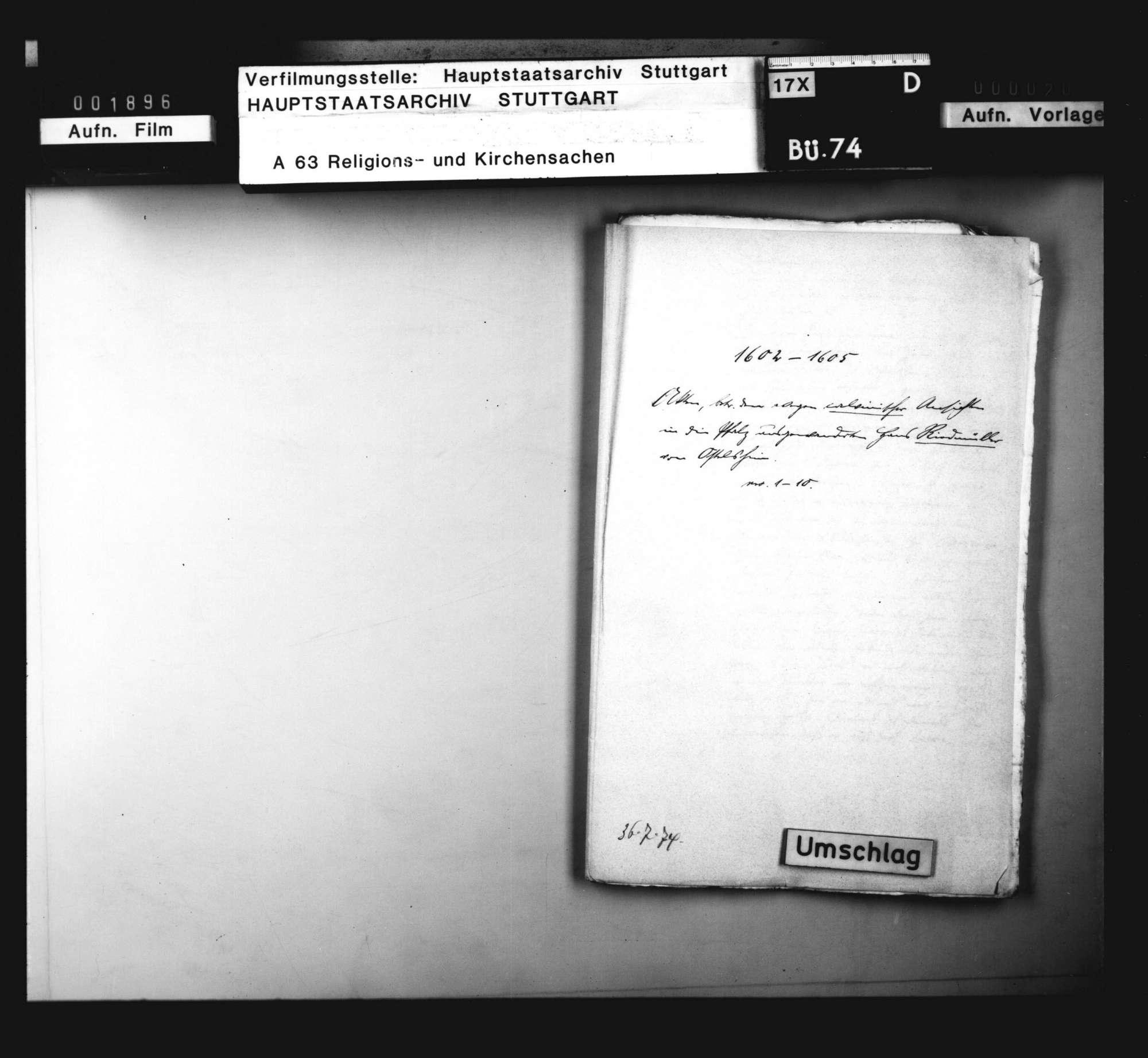 Schriften, betreffend den wegen calvinischer Ansichten in die Pfalz ausgewanderten Hans Riedmüller von Ostelsheim., Bild 1