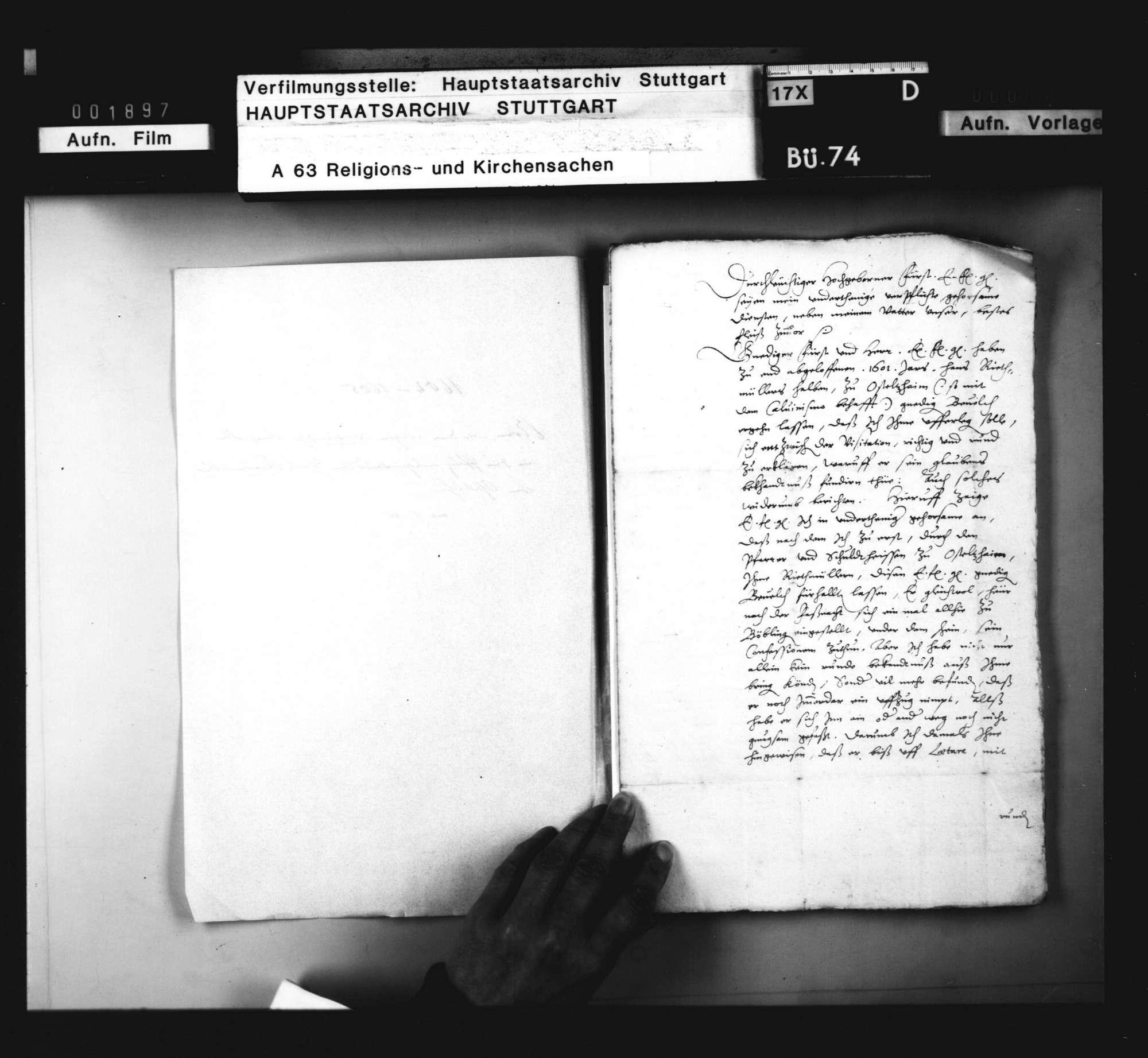 Schriften, betreffend den wegen calvinischer Ansichten in die Pfalz ausgewanderten Hans Riedmüller von Ostelsheim., Bild 2