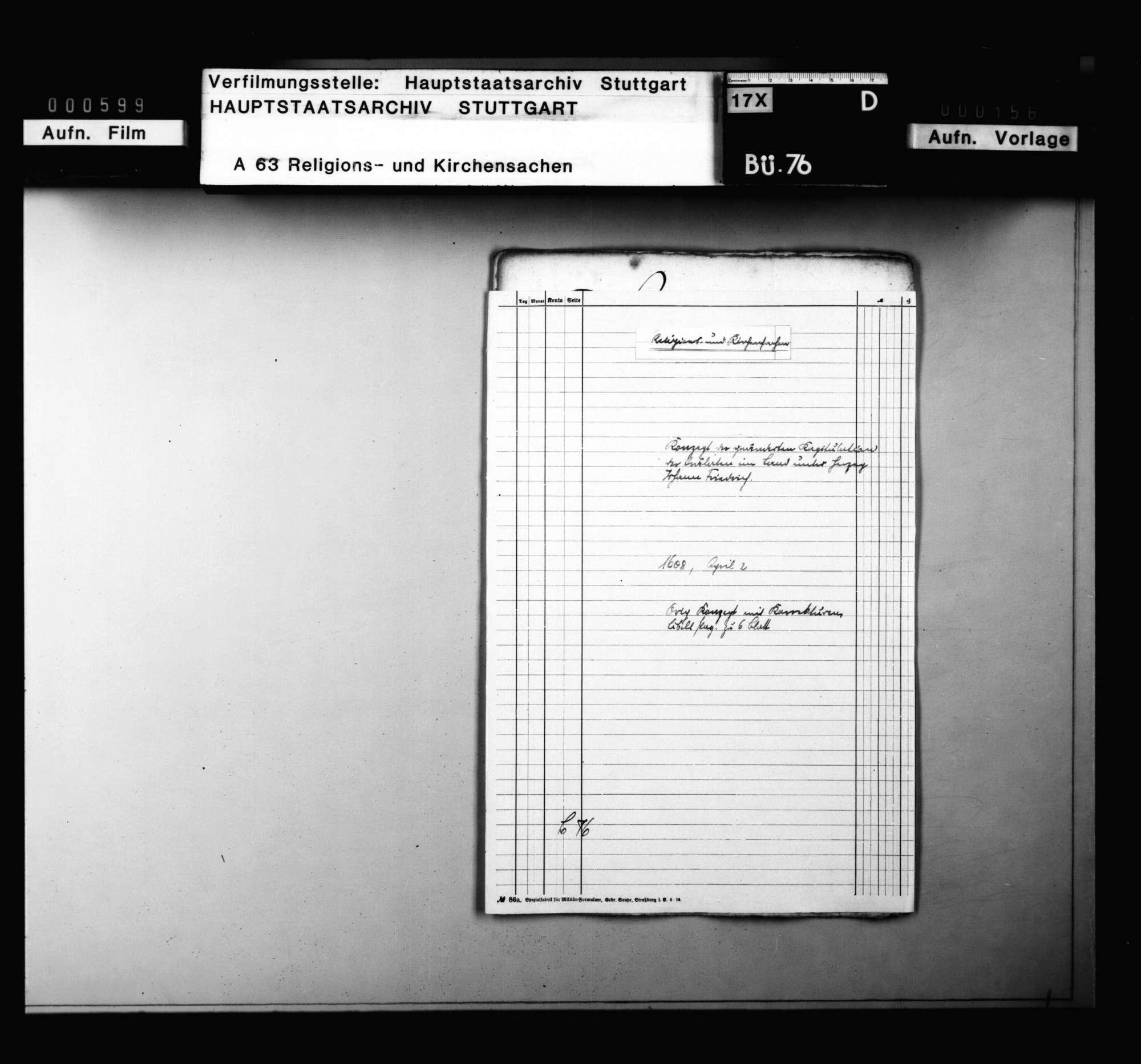 Konzept der geänderten Kapitulation der Prälaten im Land unter Herzog Johann Friedrich. Konzeptfassung mit Korrekturen., Bild 1