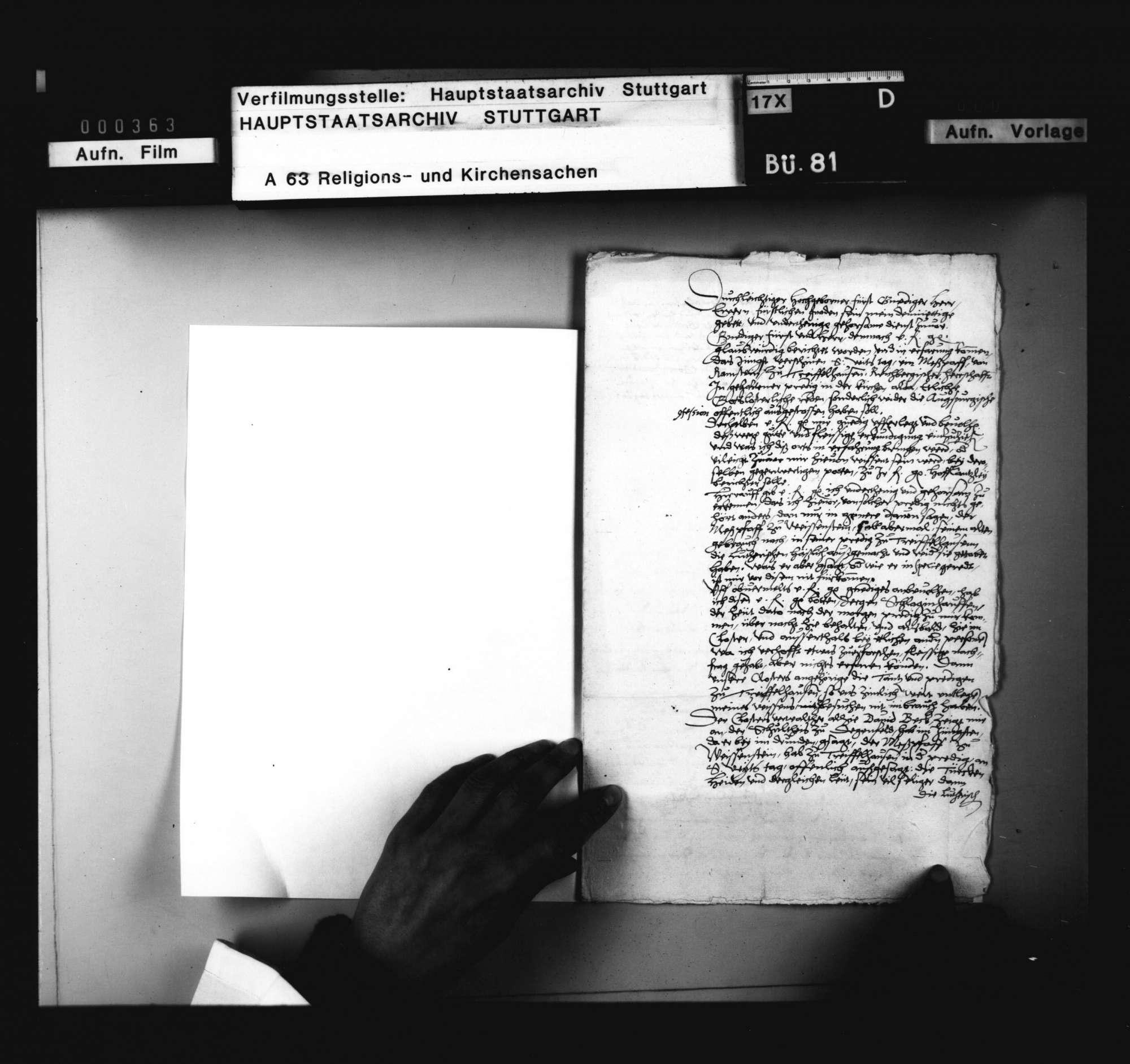 Bericht des Abts zu Königsbronn, betreffend neuer Predigt eines Messpriesters von Weissenstein zu Treffelhausen, Bild 1