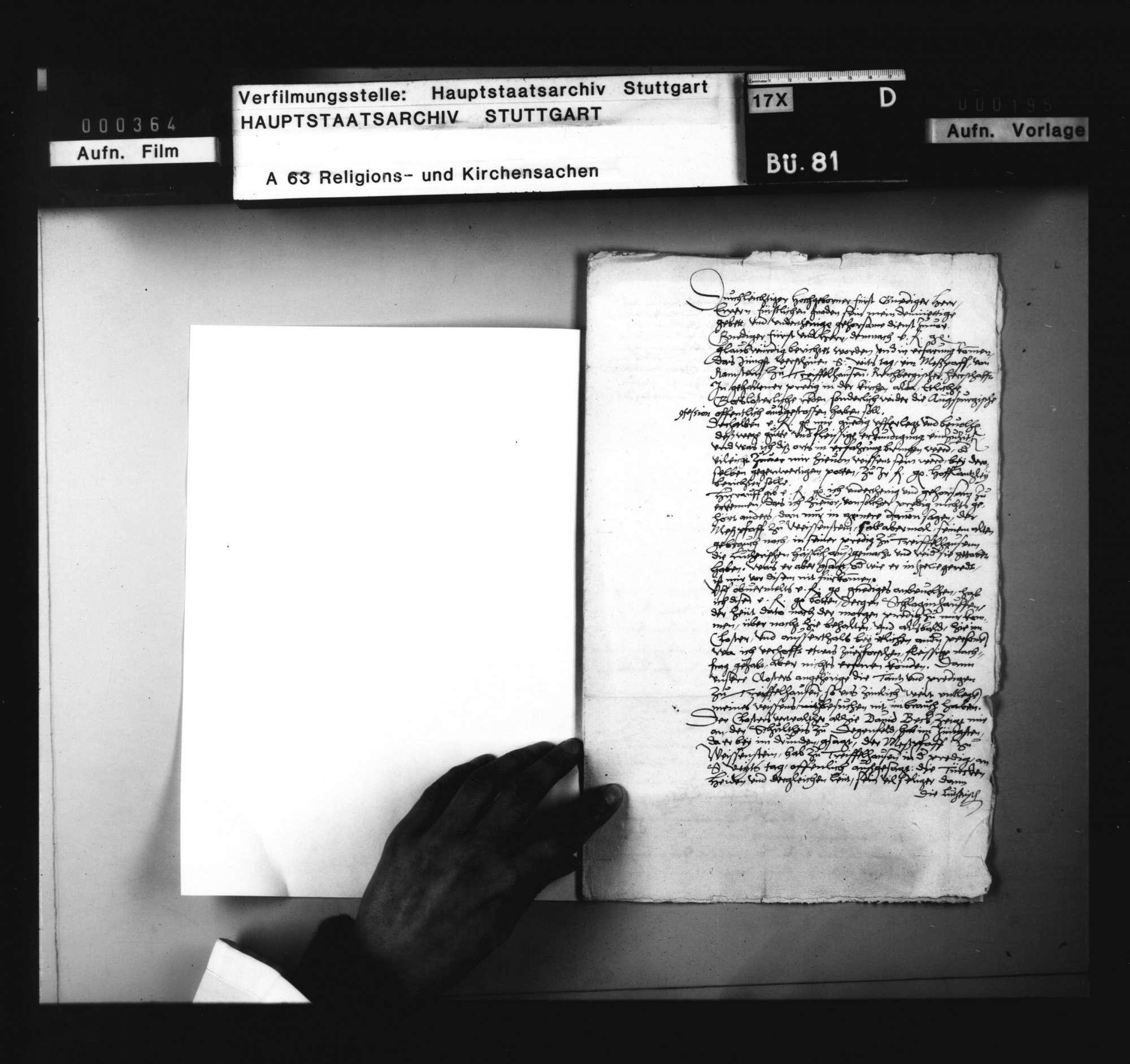Bericht des Abts zu Königsbronn, betreffend neuer Predigt eines Messpriesters von Weissenstein zu Treffelhausen, Bild 2