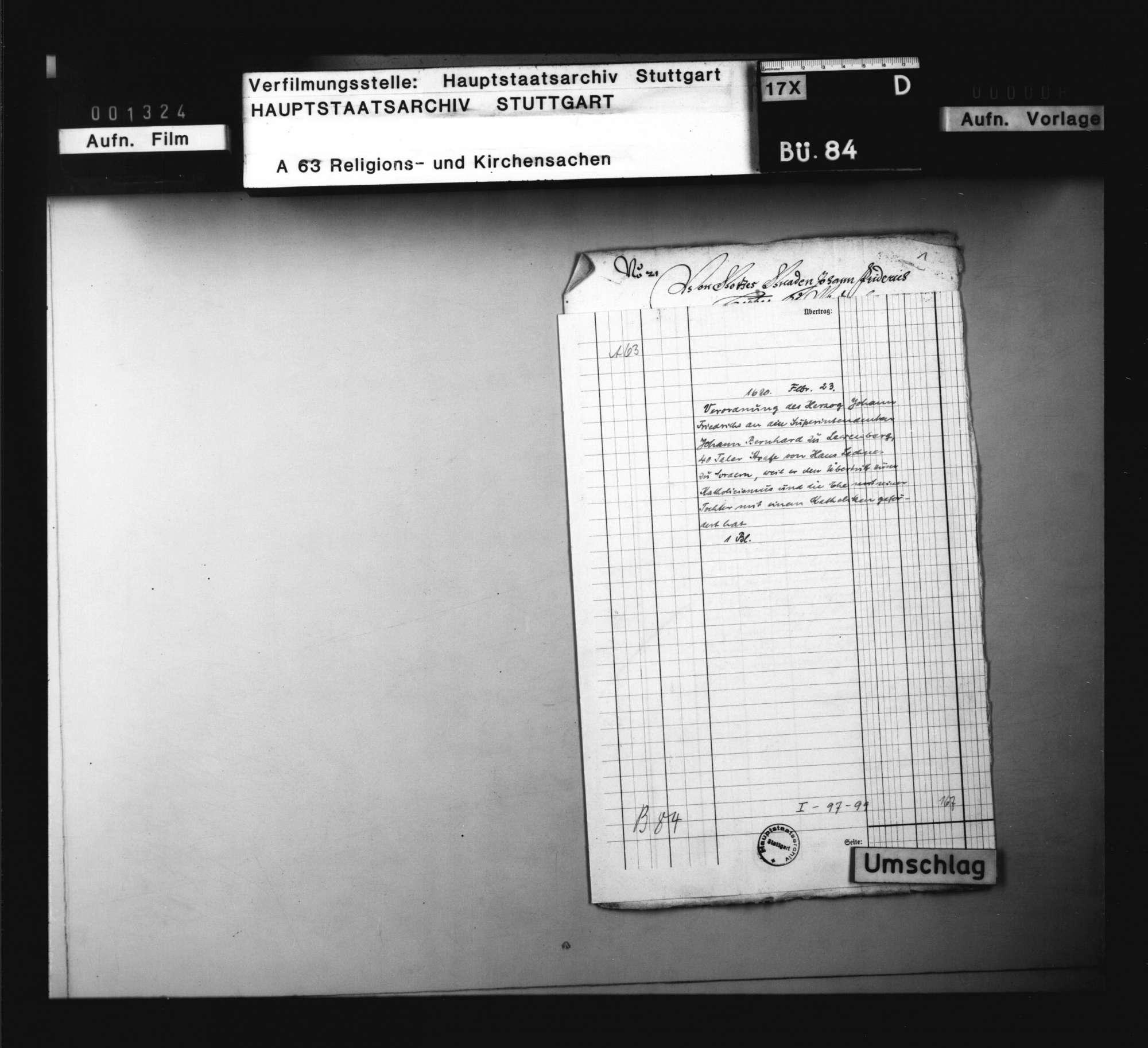 Verordnung des Herzog Johann Friedrich an den Superintendenten Johann Bernhard zu Lewenberg, 40 Taler Strafe von Hans Lechner zu fordern, weil er den Übertritt zum Katholismus und die Ehe seiner Tochter mit einem Katholiken gefördert hat., Bild 1
