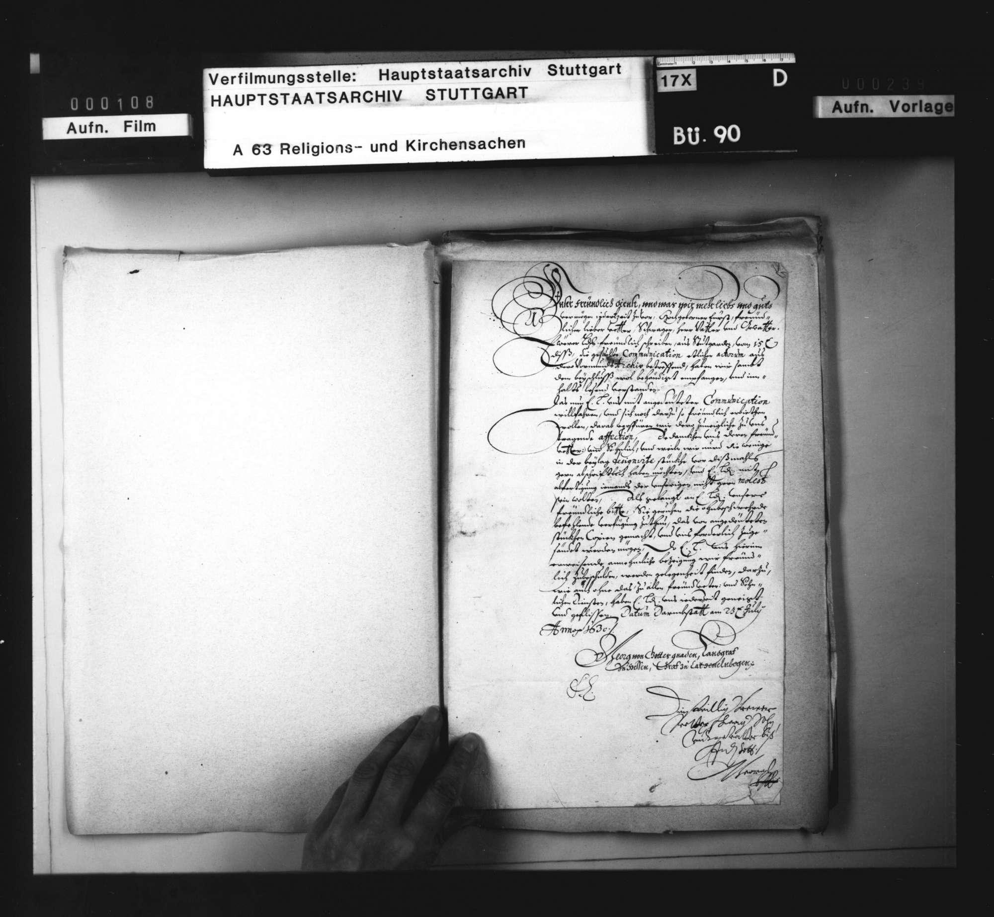 Landgraf Georg von Hessen bittet um Akten aus dem württembergischen Archiv., Bild 2
