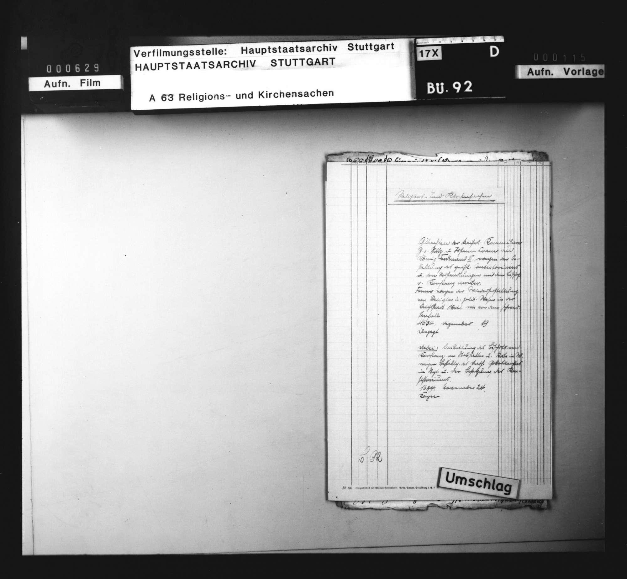 Gutachten der kaiserlichen Kommissare Graf von Sulz und Johann Crane an König Ferdinand III., wegen der Bestellung des geistlichen Konsistoriums und den Verhandlungen darüber mit dem Bischof von Konstanz., Bild 1