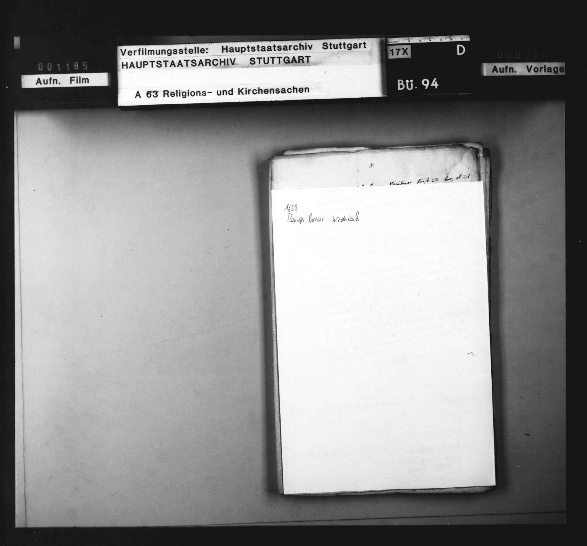 Bericht des Specialis zu Balingen einen Wiedertäufer betreffend., Bild 1