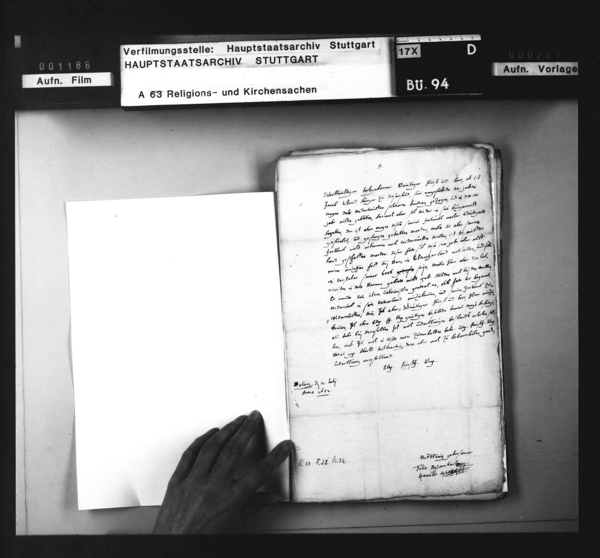 Bericht des Specialis zu Balingen einen Wiedertäufer betreffend., Bild 2