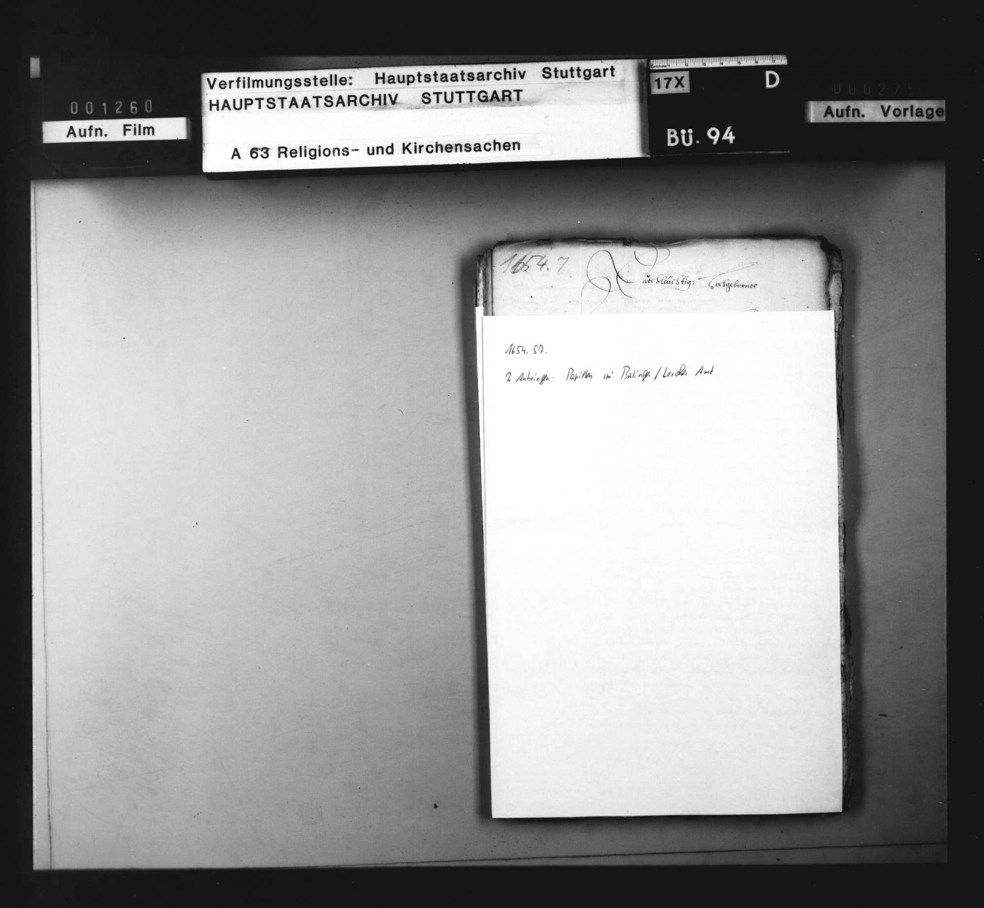 2 Anbringen, betreffend Papisten im Balinger und Lorcher Amt., Bild 1