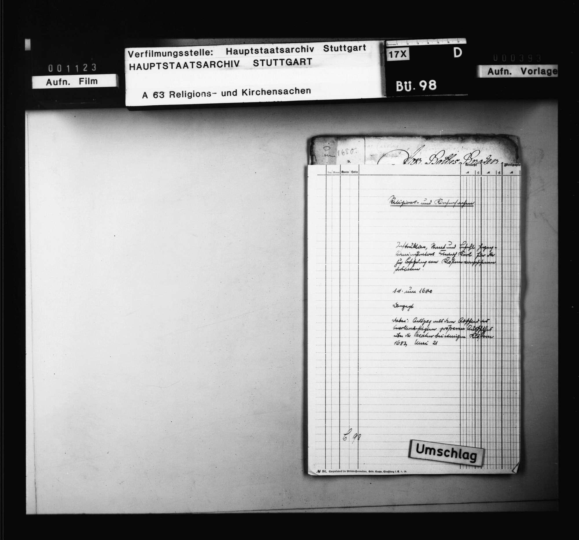 Instruktion, Staat und Befehl Herzog-Administrators Friedrich Karl für die zur Besetzung der entsprechenden Stellen an den verschiedenen Klöstern vorgesehenen Prälaten. Sine dato., Bild 1