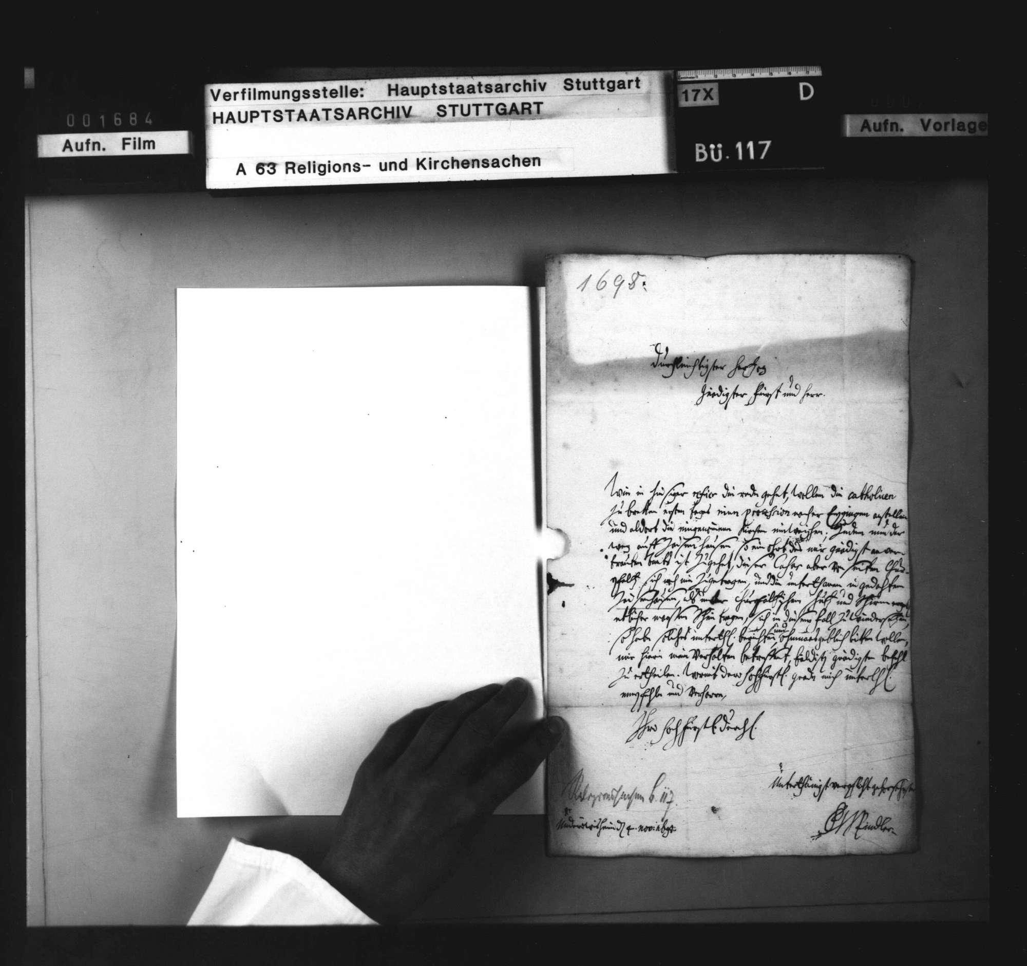 Anfrage des Pflegers zu Untereisesheim, wie er sich gegenüber einer beabsichtigten katholischen Prozession nach Zaisenhausen verhalten solle. 4. November 1698, nebst Anweisung vom 11. November 1698., Bild 2