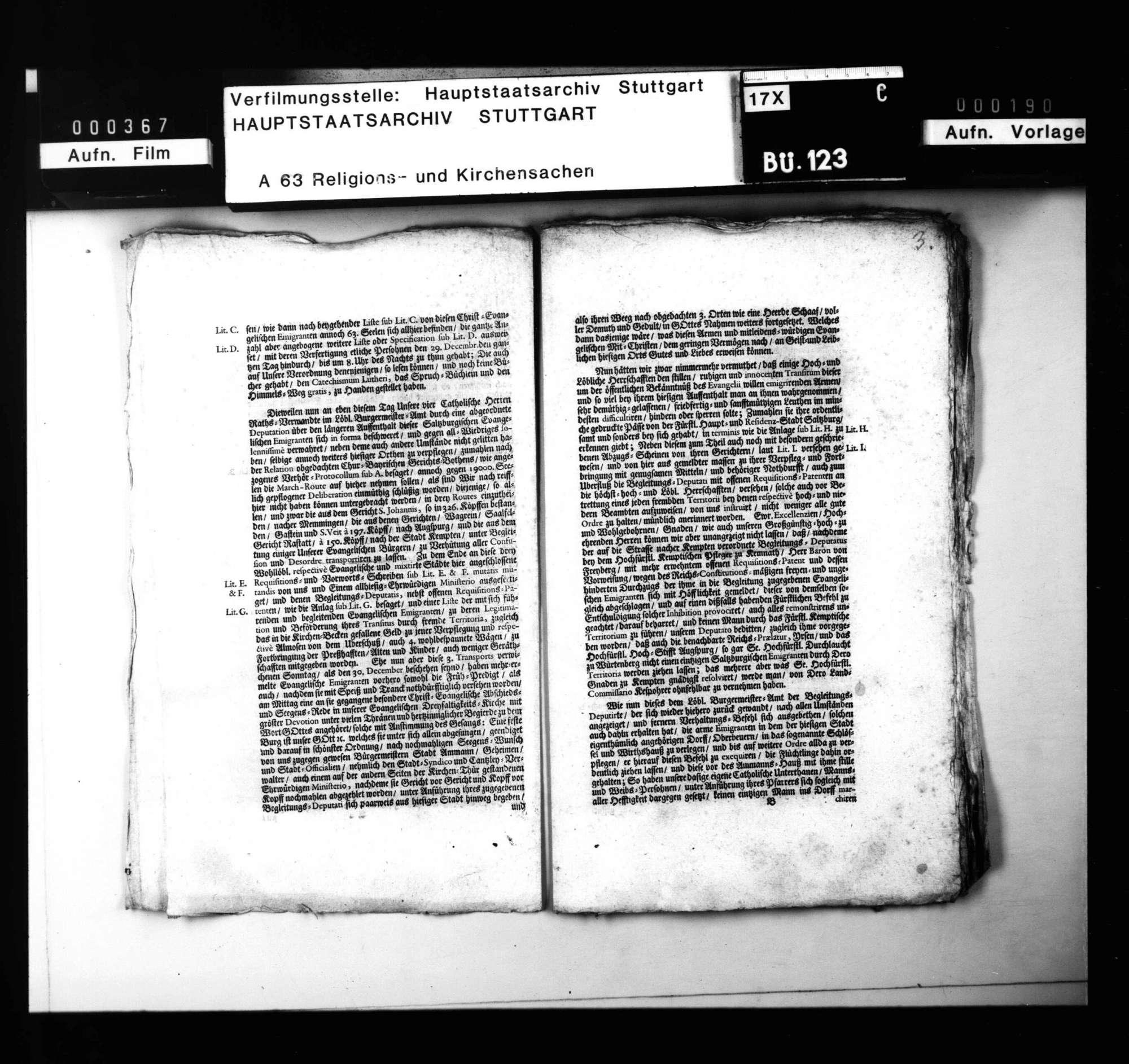 Akten über die Ankunft der Salzburger in Biberach, ihre Aufnahme und Abreise., Bild 3
