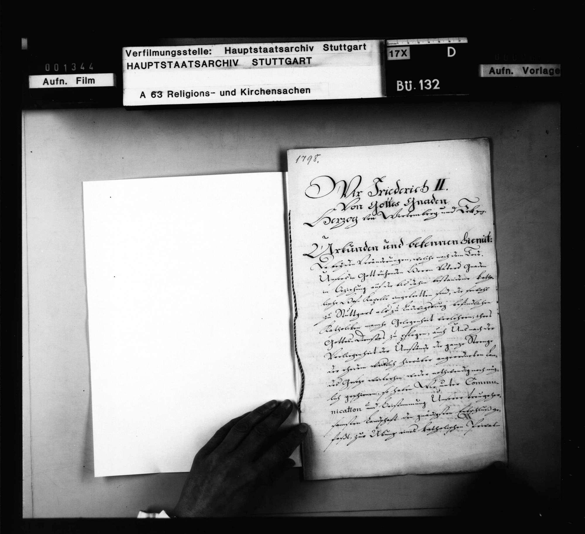 Herzog Friedrichs II. Fundationsurkunde über den Katholiken zu Stuttgart und Ludwigsburg gestatteten Privatgottesdienst., Bild 2