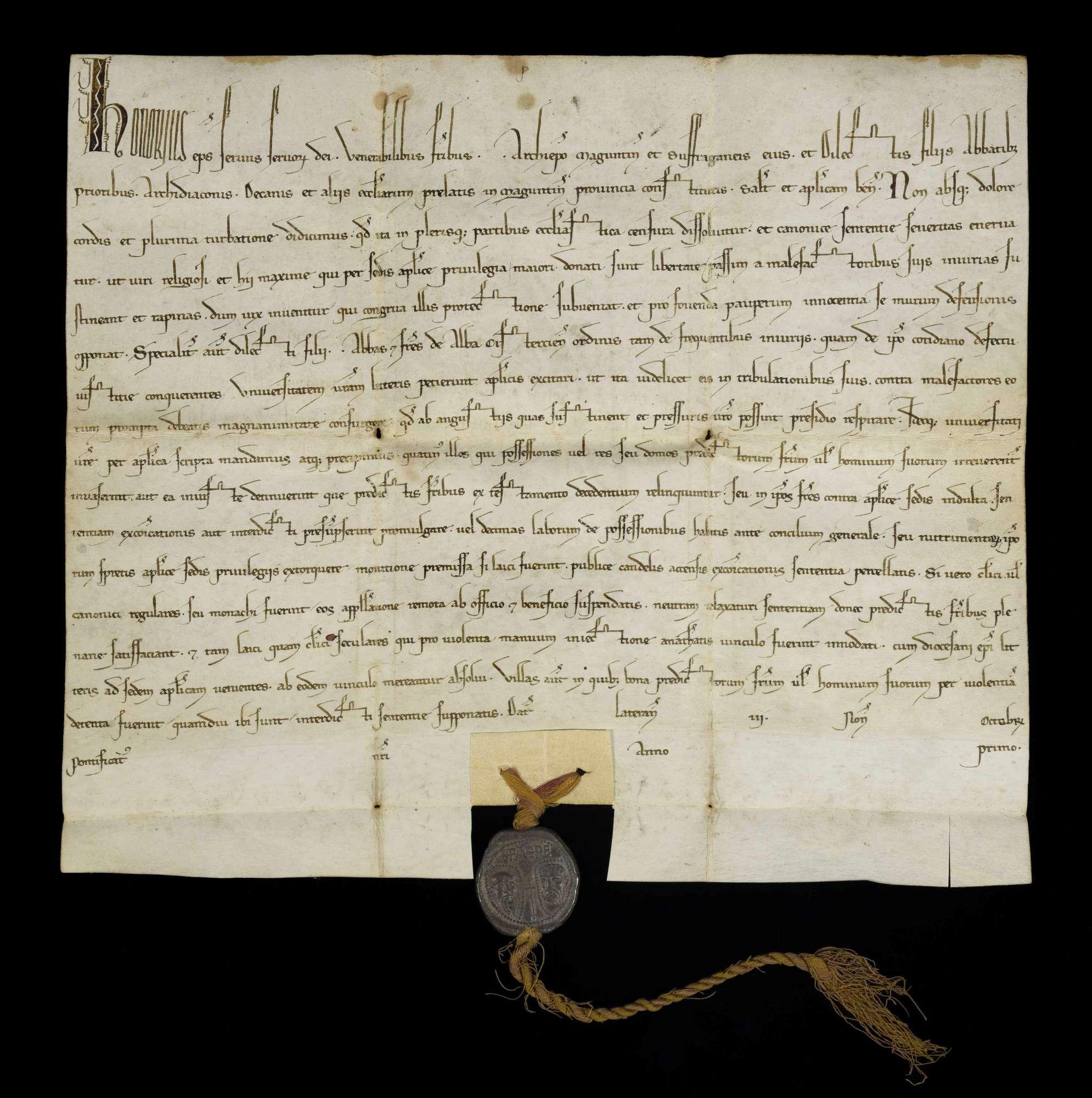 Papst Honorius III. gebietet auf Bitte des Klosters Herrenalb den Prälaten des Erzsprengels von Mainz, das Kloster gegen Übergriffe von Seiten der Laien wie der Geistlichen zu schützen., r