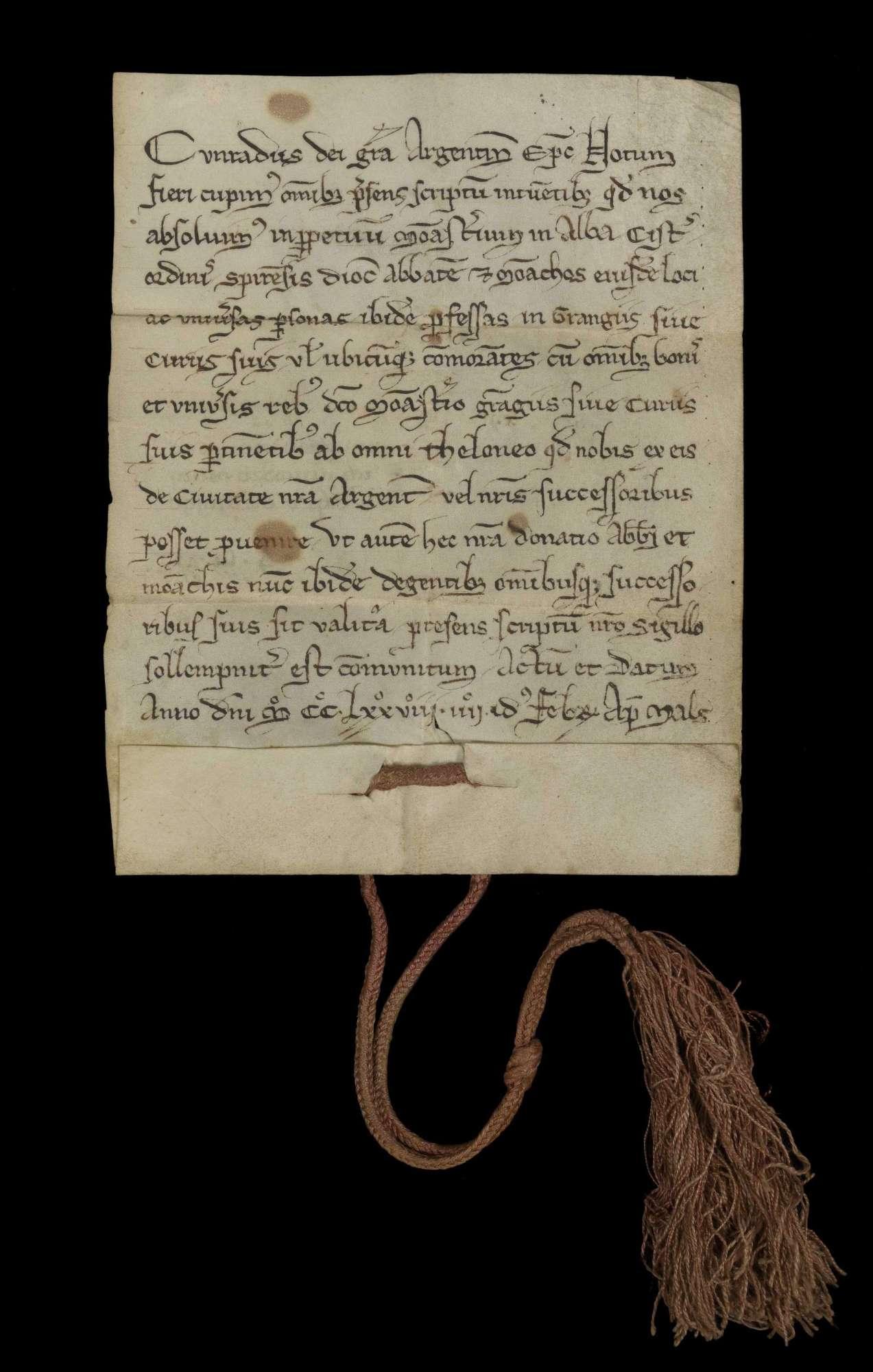 Bischof Konrad von Straßburg verleiht dem Kloster Herrenalb und allen seinen Angehörigen Zollfreiheit zu Straßburg., r