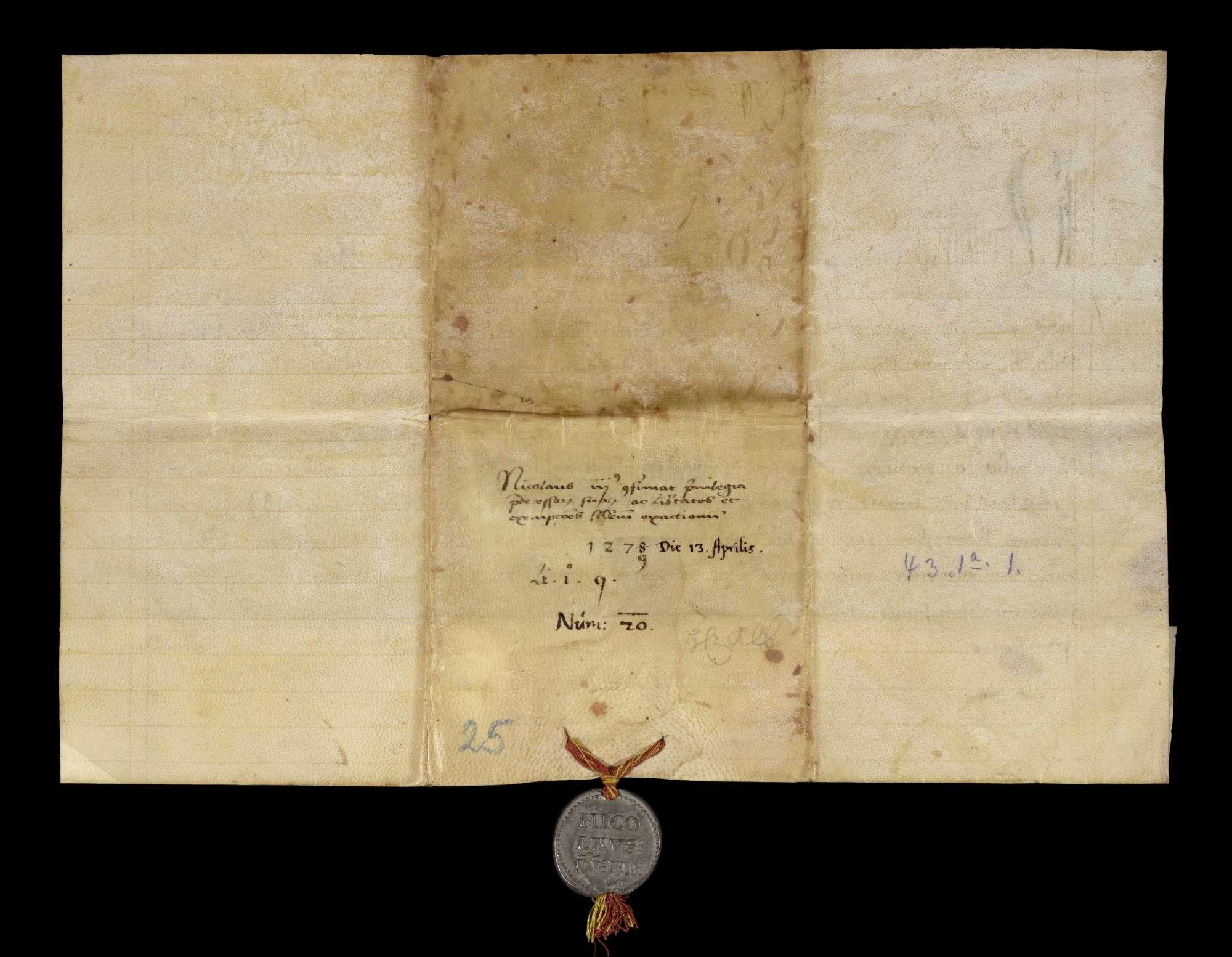 Papst Nikolaus III. beauftragt den Domdekan von Speyer, das Kloster Herrenalb zu schützen., v
