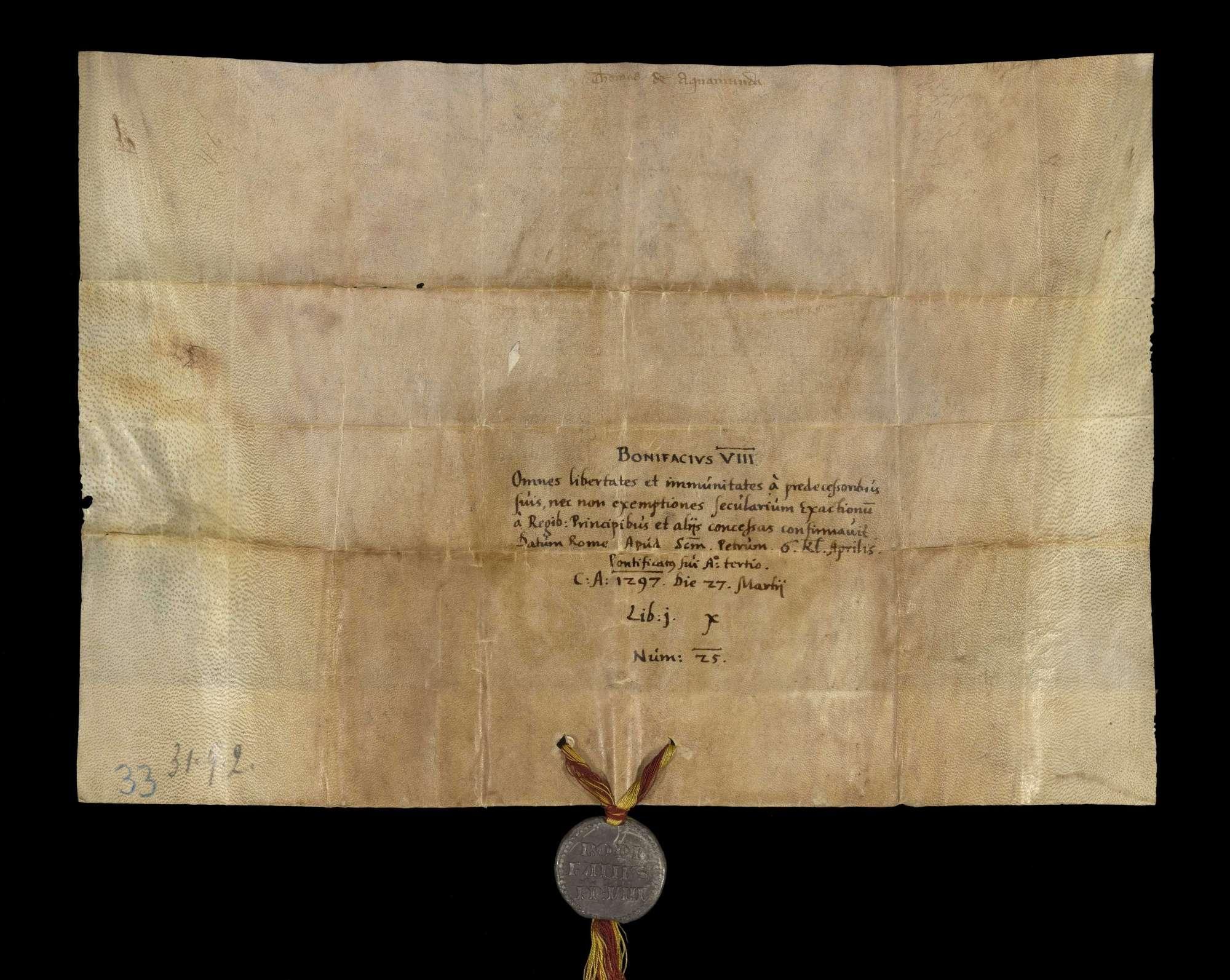 Papst Bonifatius VIII. bestätigt dem Kloster Herrenalb alle seine Privilegien und Freiheiten., v